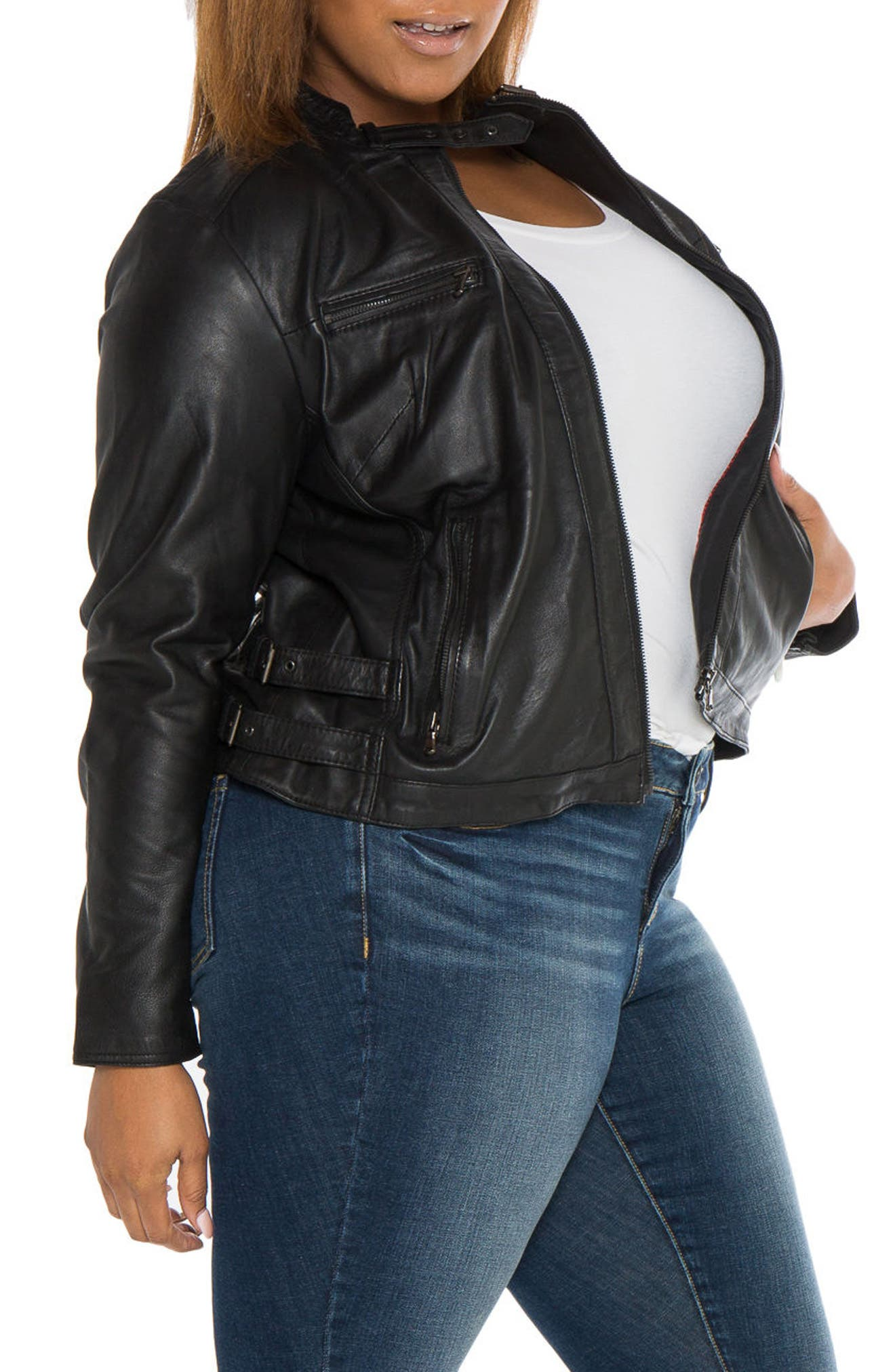 Fitted Leather Moto Jacket,                             Alternate thumbnail 4, color,                             BLACK