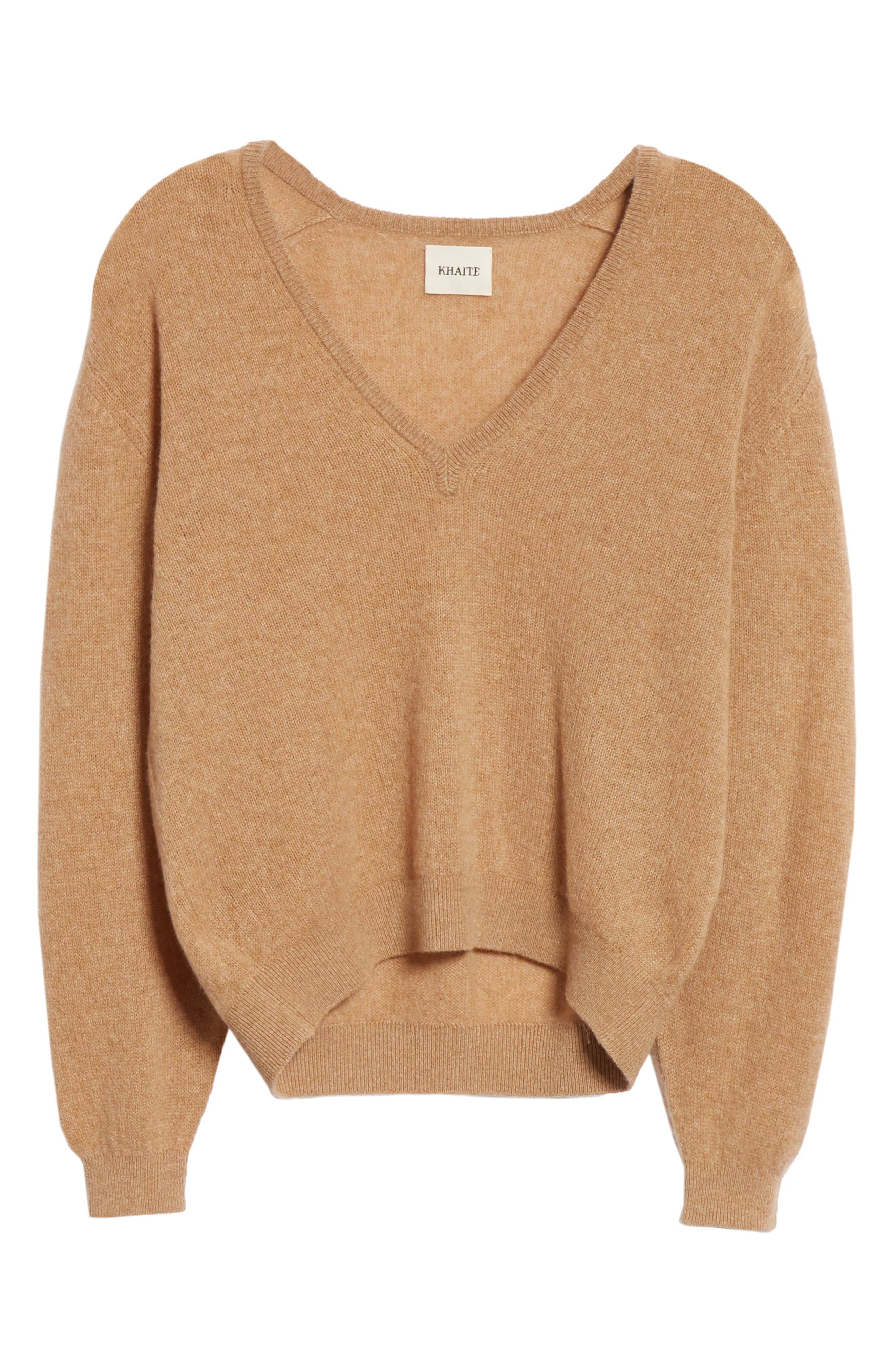 KHAITE,                             Sam Cashmere Sweater,                             Alternate thumbnail 6, color,                             CAMEL
