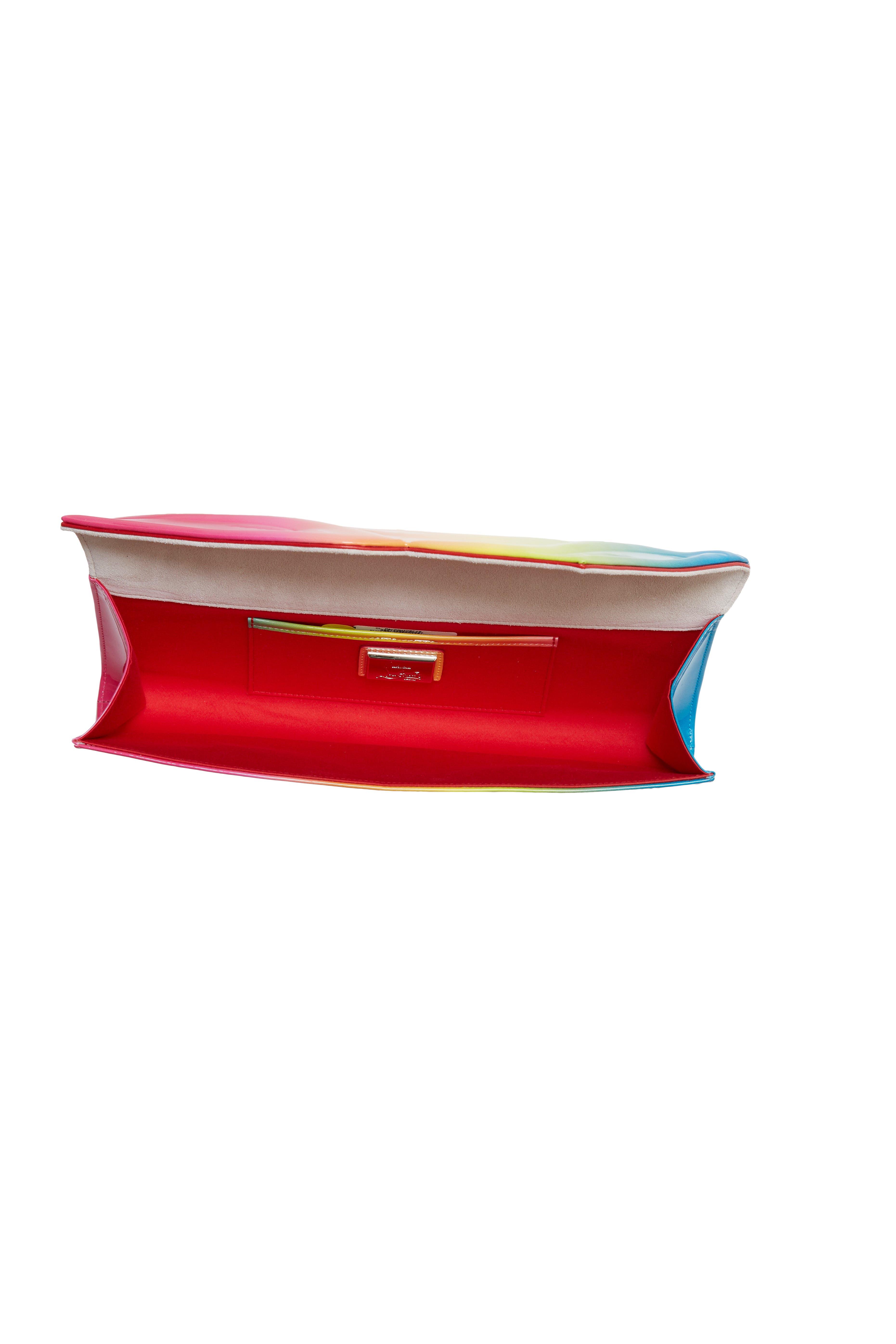 So Kate Rainbow Ombré Patent Leather Clutch,                             Alternate thumbnail 3, color,                             PINK MULTI
