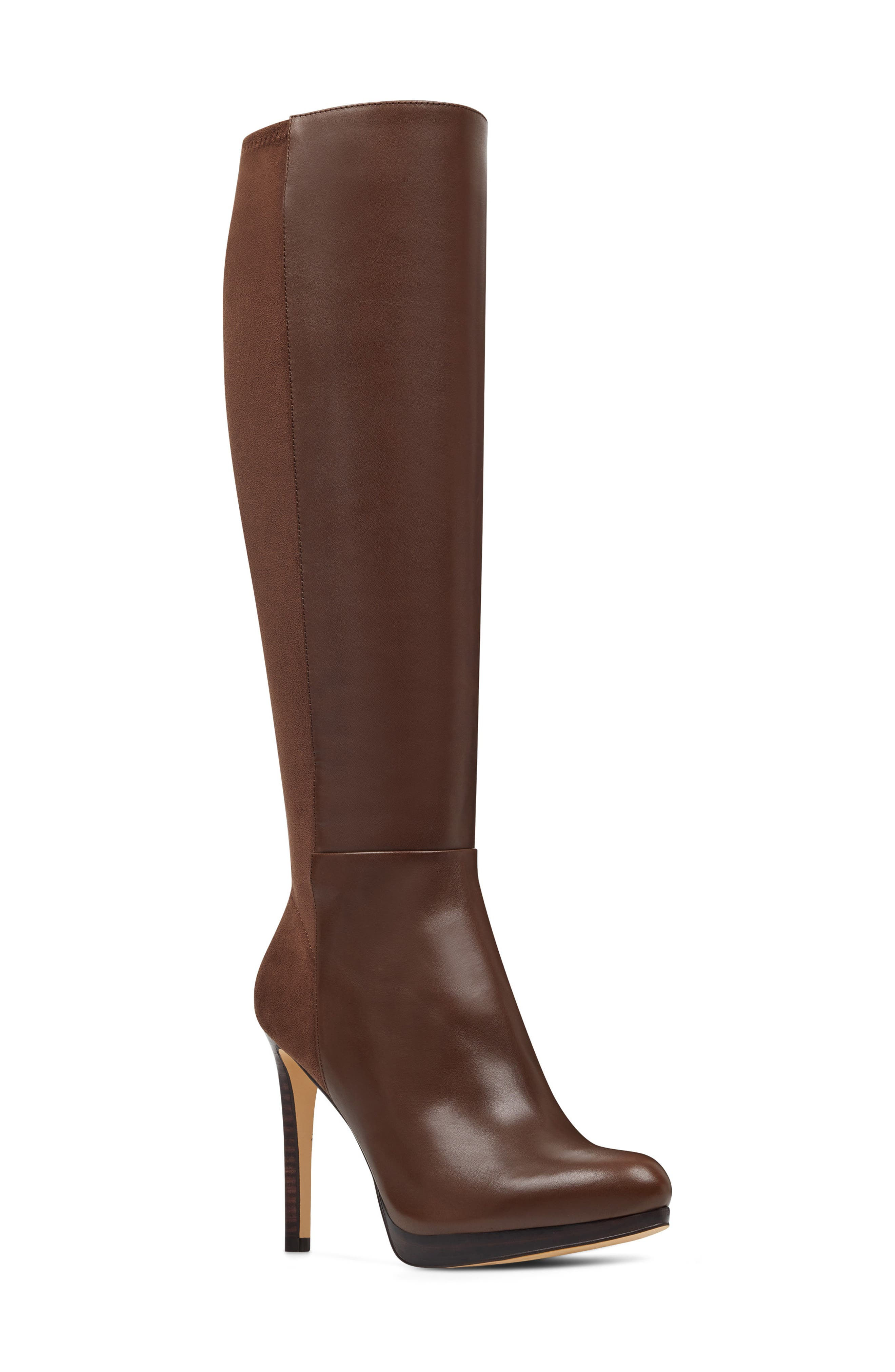 Nine West Quizme Knee High Boot, Regular Calf- Brown