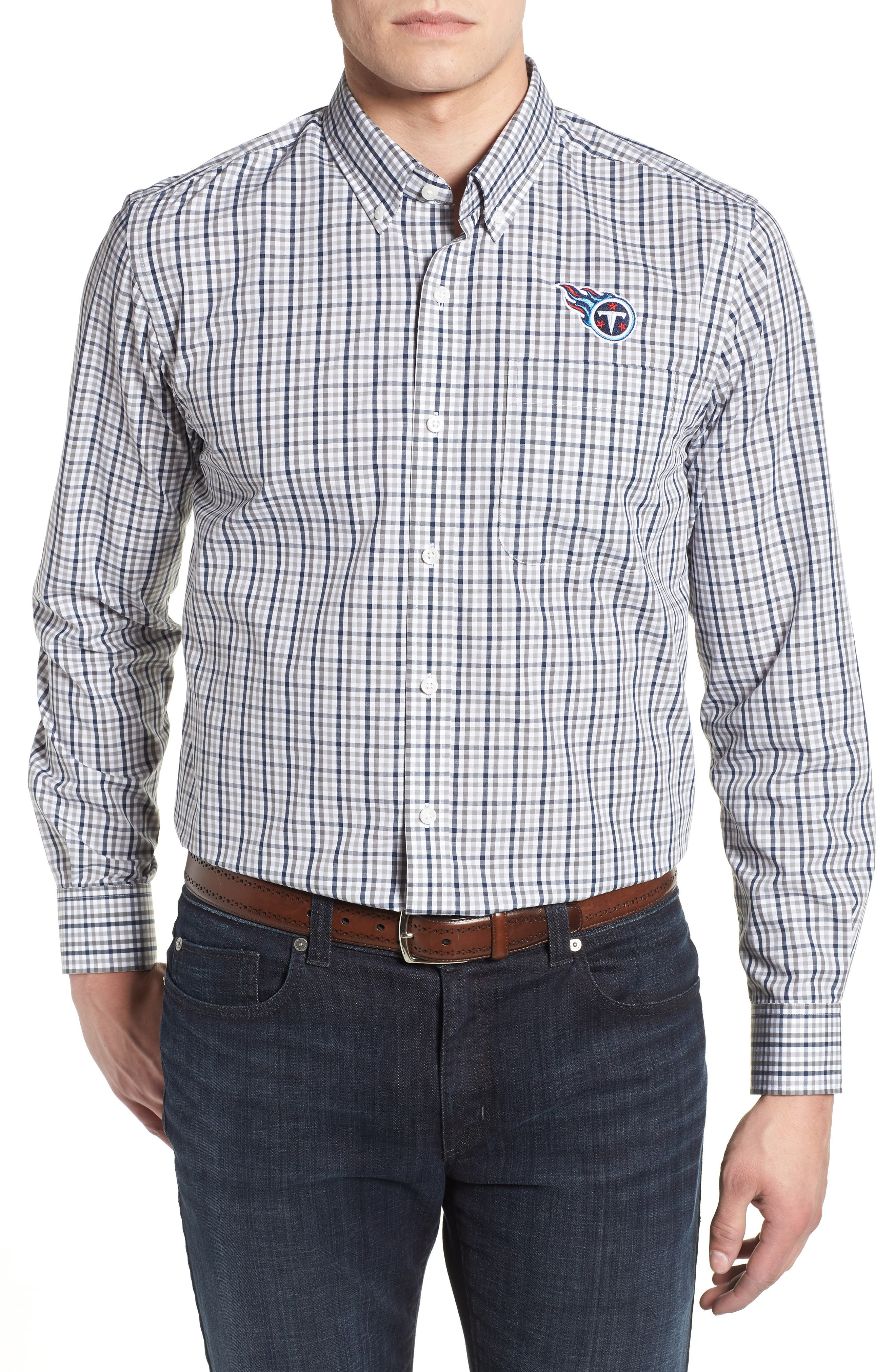 Tennessee Titans - Gilman Regular Fit Plaid Sport Shirt,                             Main thumbnail 1, color,                             LIBERTY NAVY