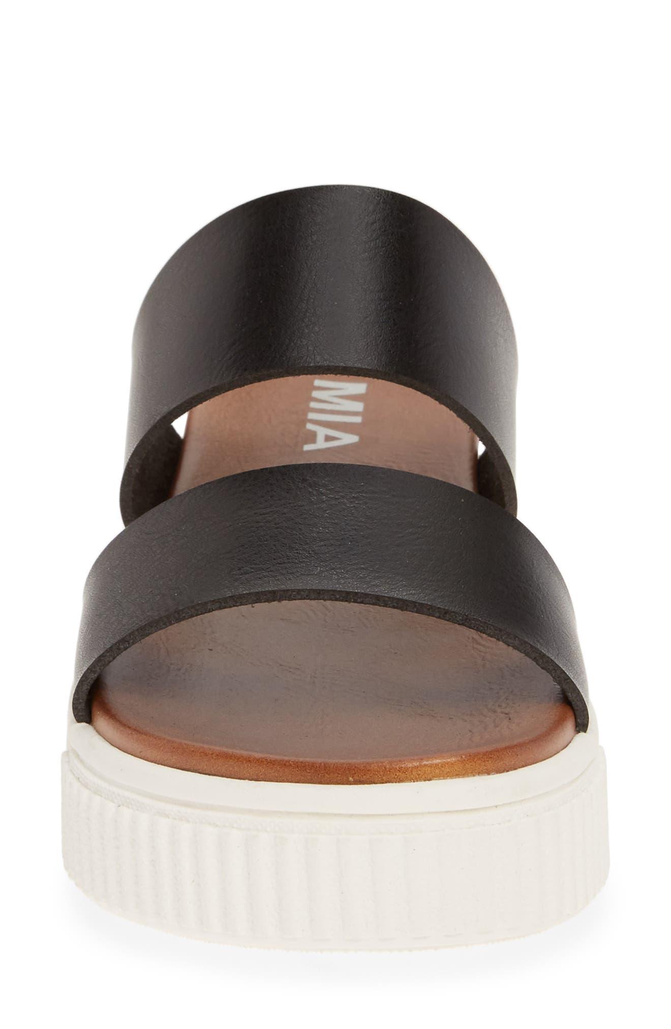 MIA,                             Lexi Platform Slide Sandal,                             Alternate thumbnail 4, color,                             BLACK LEATHER
