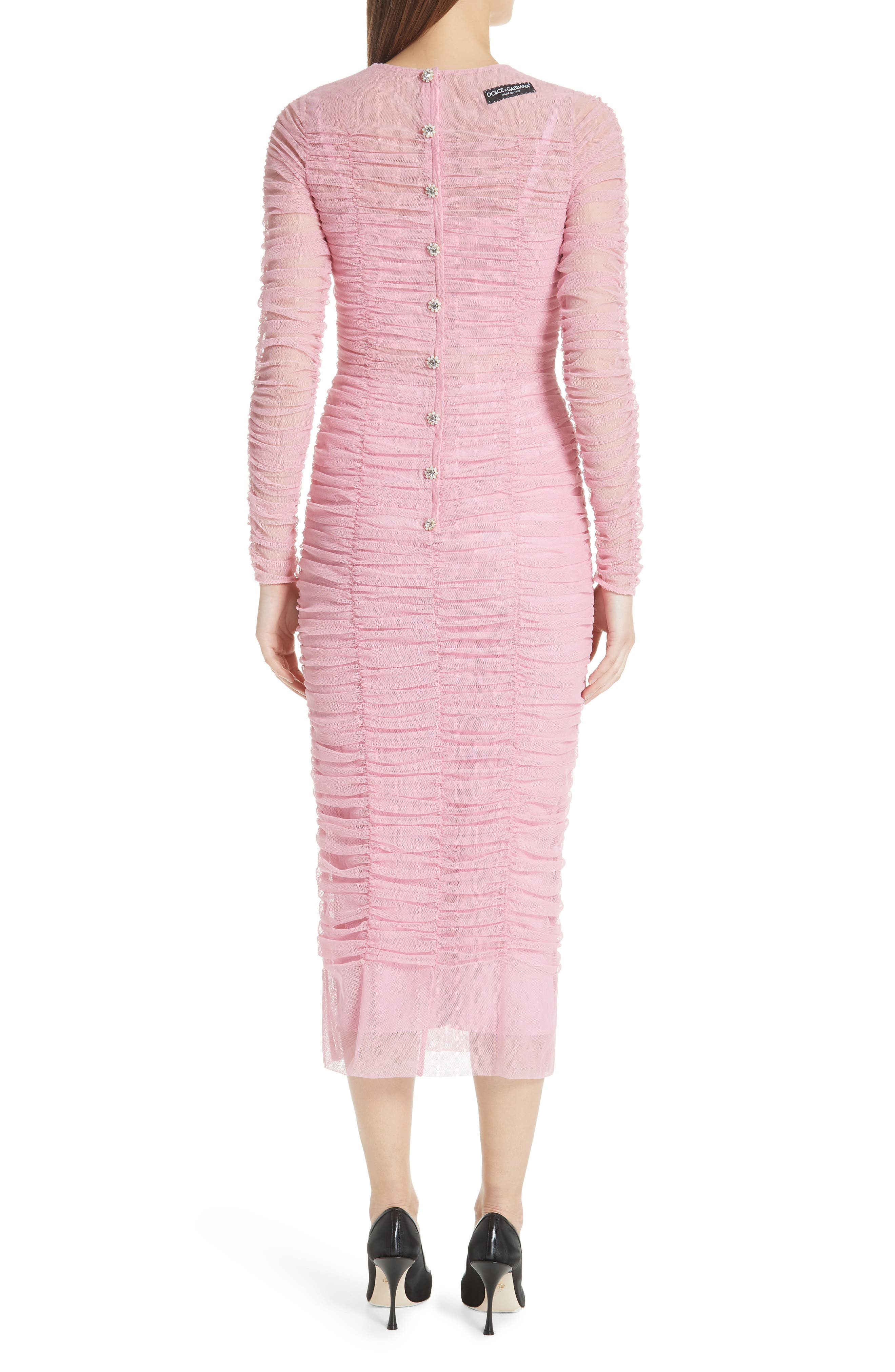 Ruched Tulle Body-Con Dress,                             Alternate thumbnail 2, color,                             ROSA