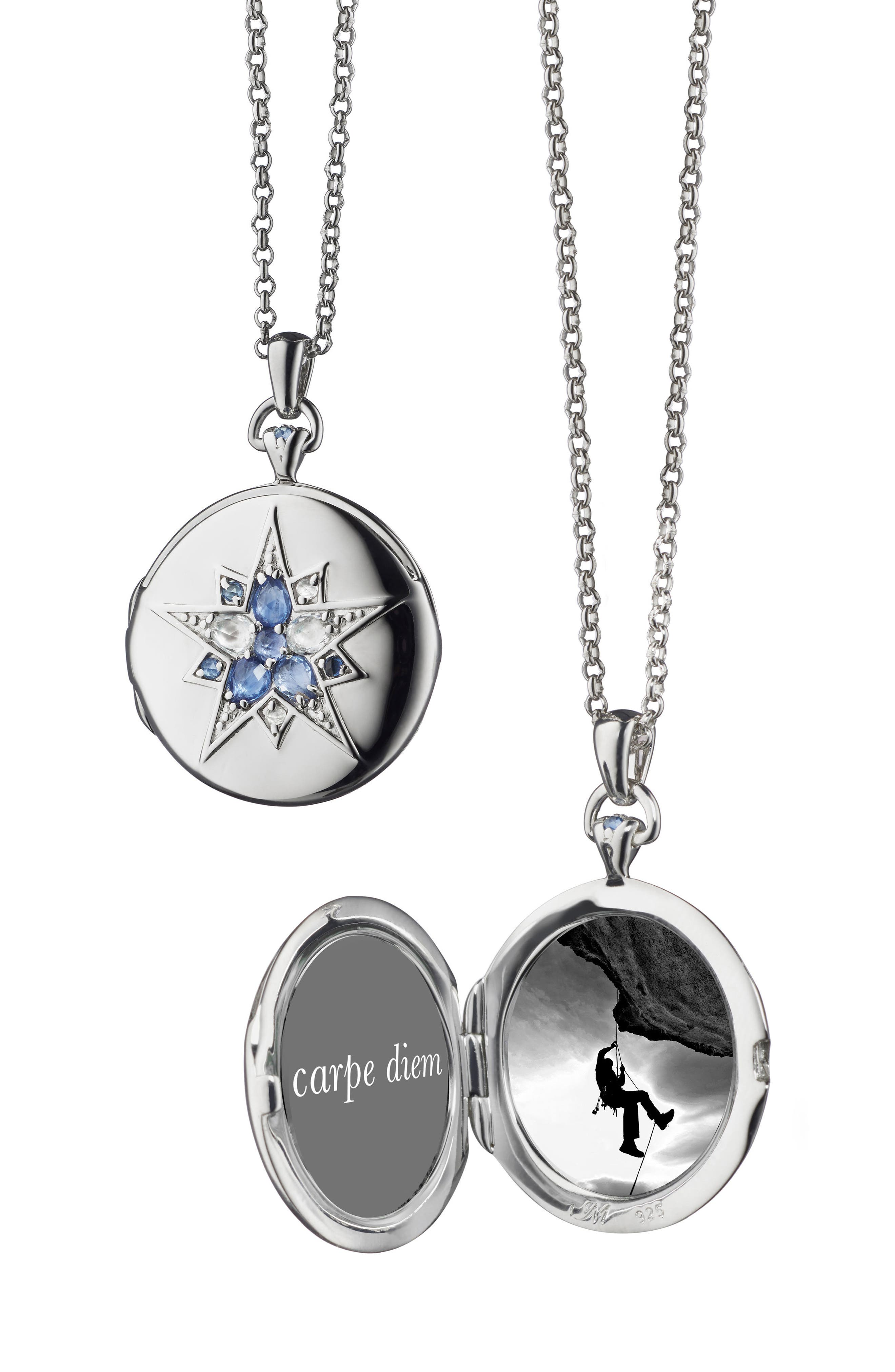 Blue Sapphire Locket Necklace,                         Main,                         color, STERLING SILVER