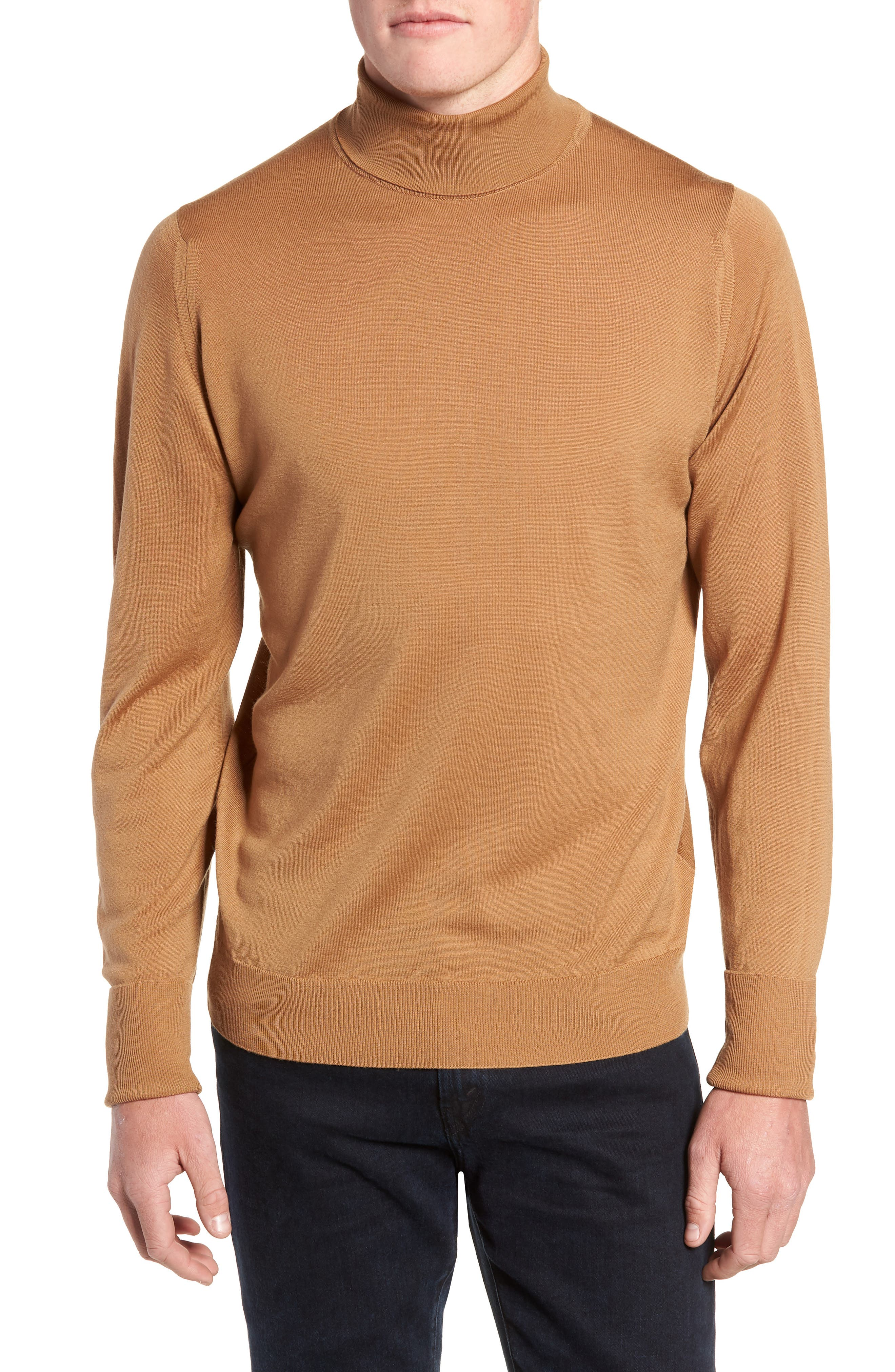 'Richards' Easy Fit Turtleneck Wool Sweater,                             Main thumbnail 1, color,                             CAMEL
