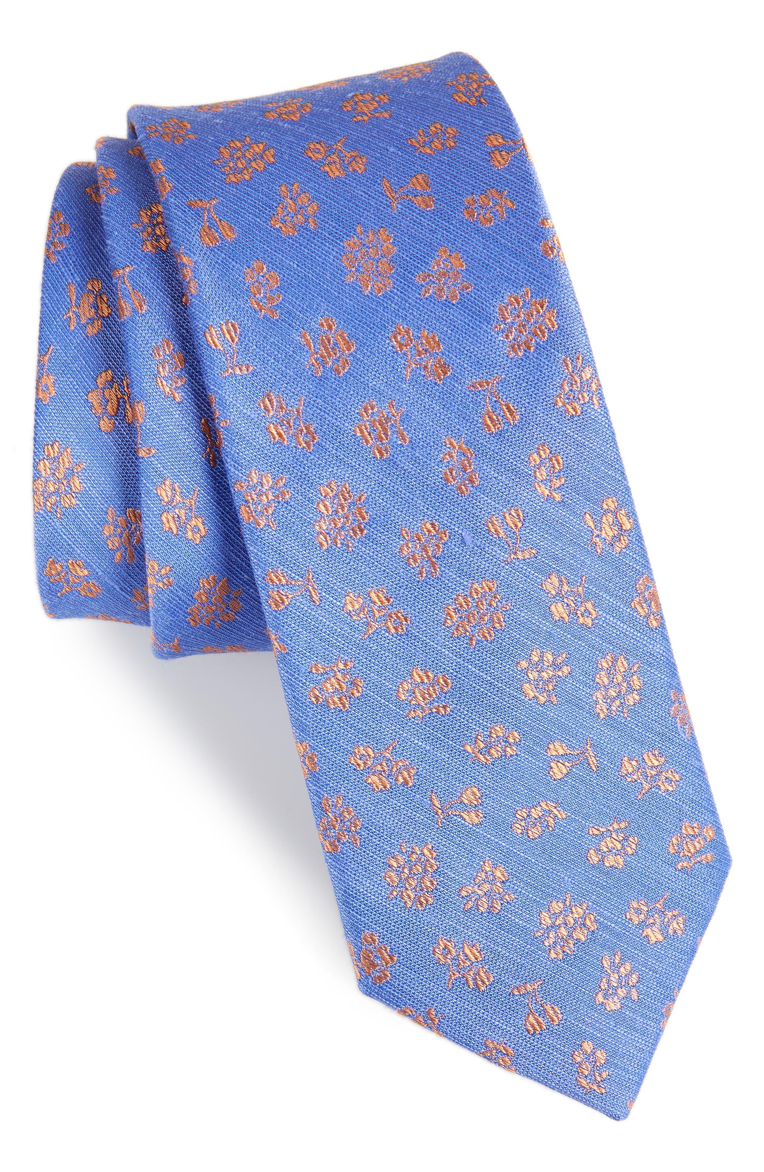 Fruta Floral Silk & Linen Tie,                             Main thumbnail 1, color,                             PERIWINKLE