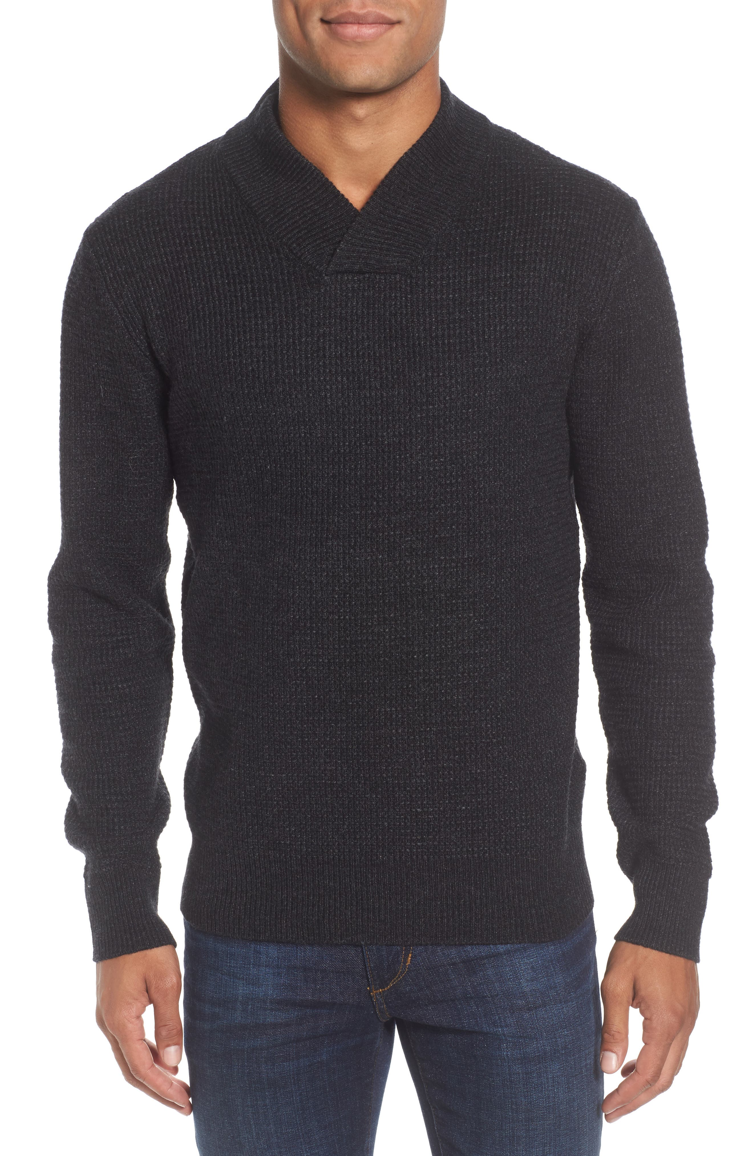 Waffle Knit Thermal Wool Blend Pullover,                         Main,                         color, BLACK