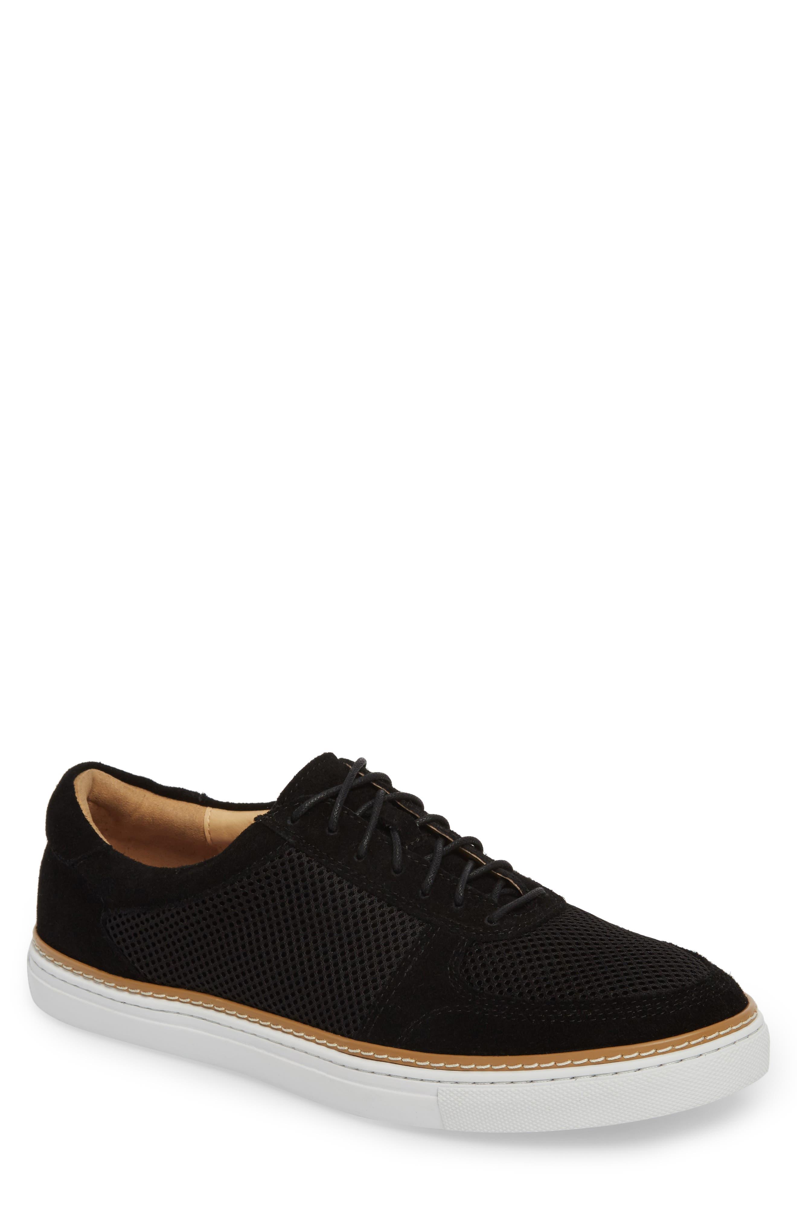 Landseer Mesh Sneaker,                         Main,                         color, BLACK SUEDE/ MESH