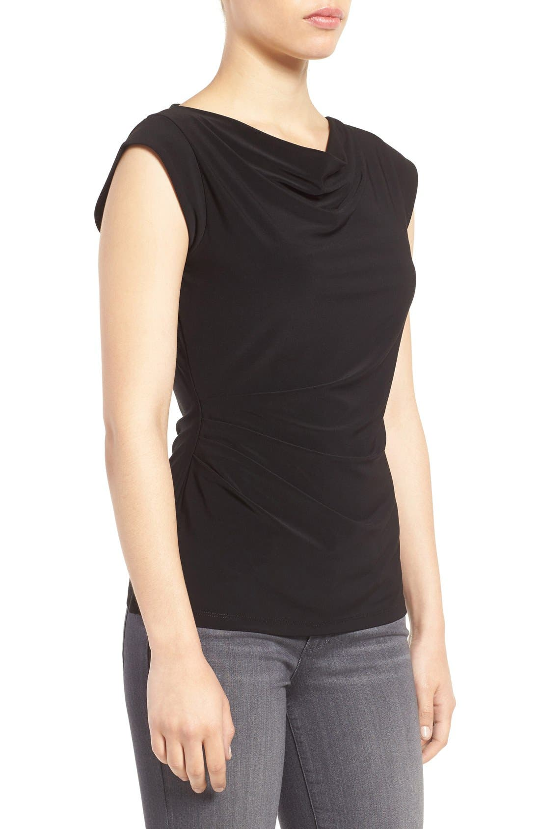 ANNE KLEIN,                             Cowl Neck Shell,                             Alternate thumbnail 4, color,                             001