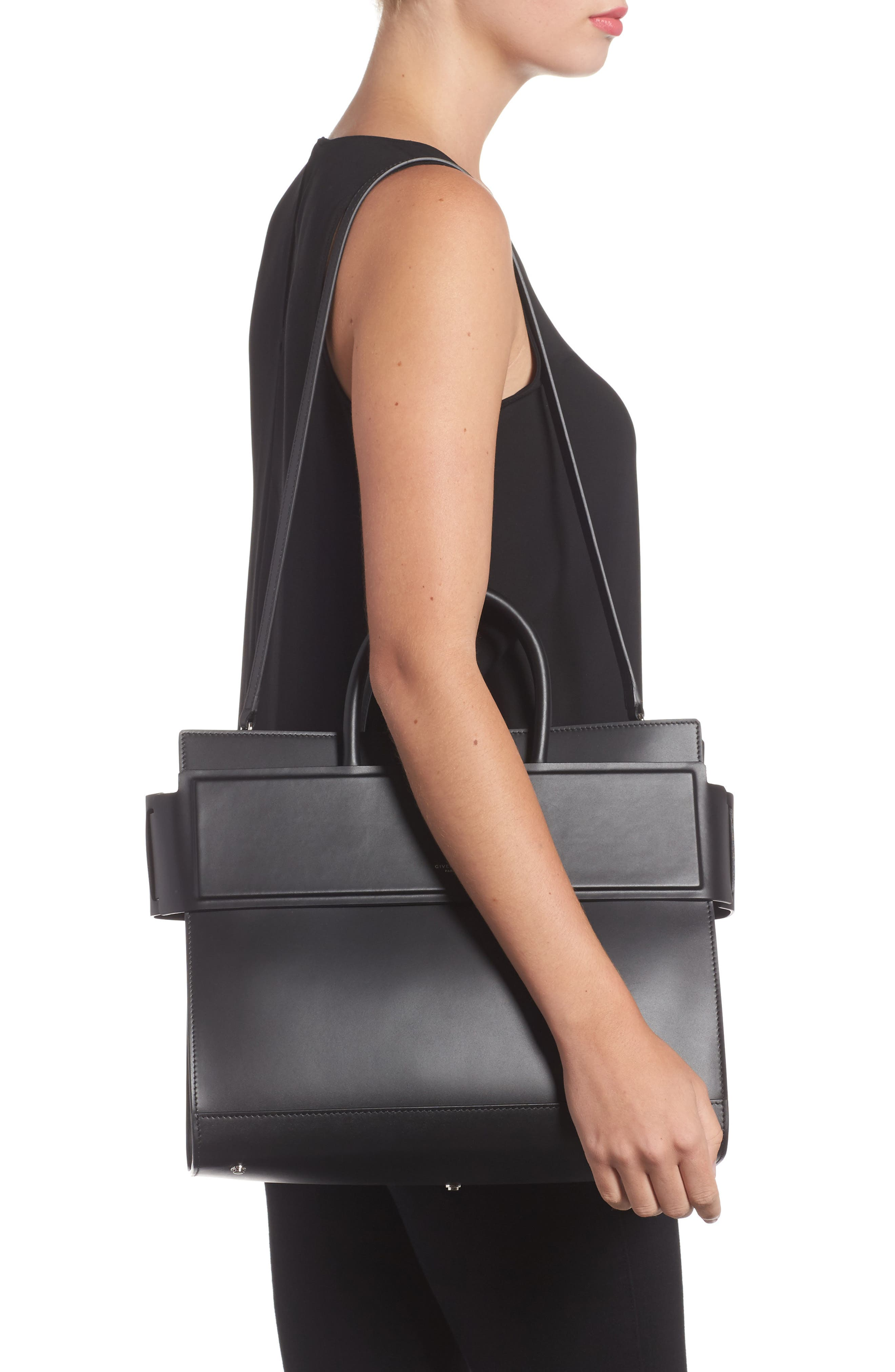 Horizon Calfskin Leather Tote,                             Alternate thumbnail 2, color,                             BLACK