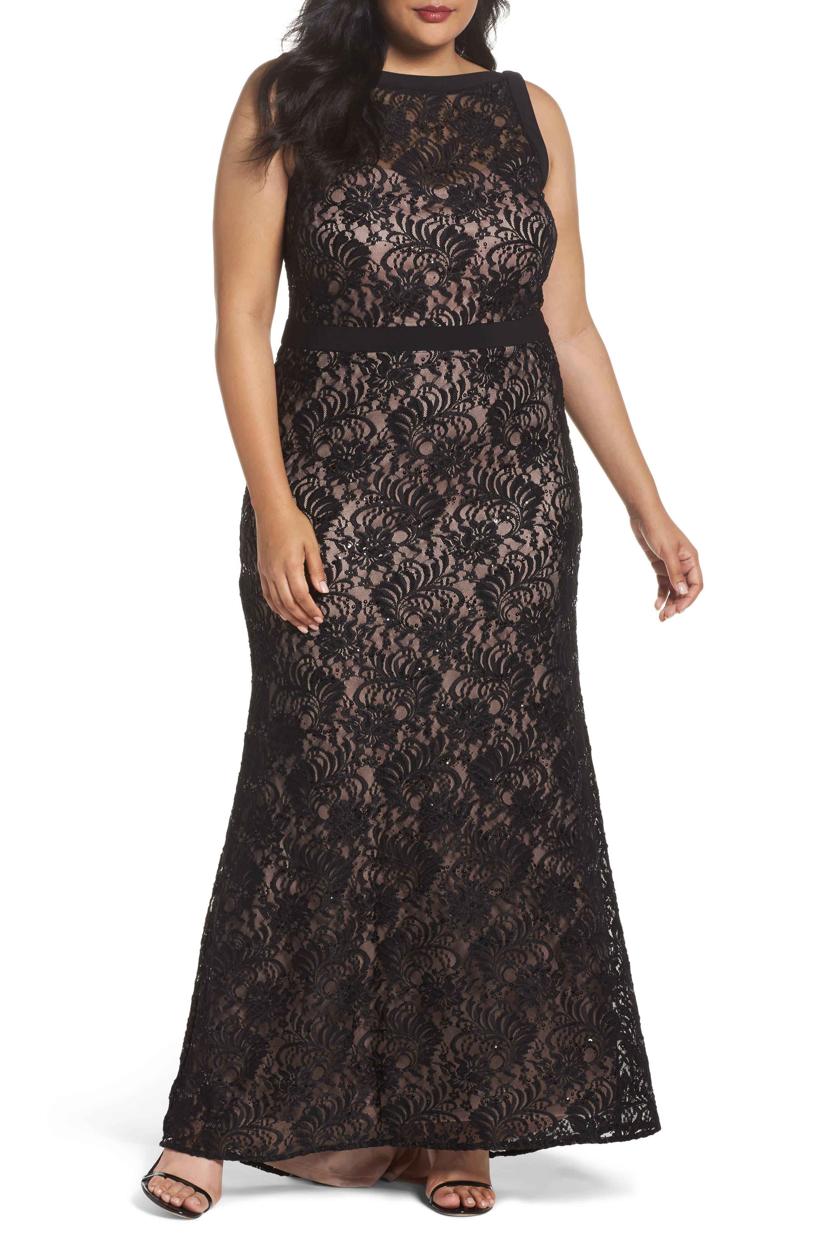 Lace Square Neck Gown,                             Main thumbnail 1, color,                             BLACK/ NUDE