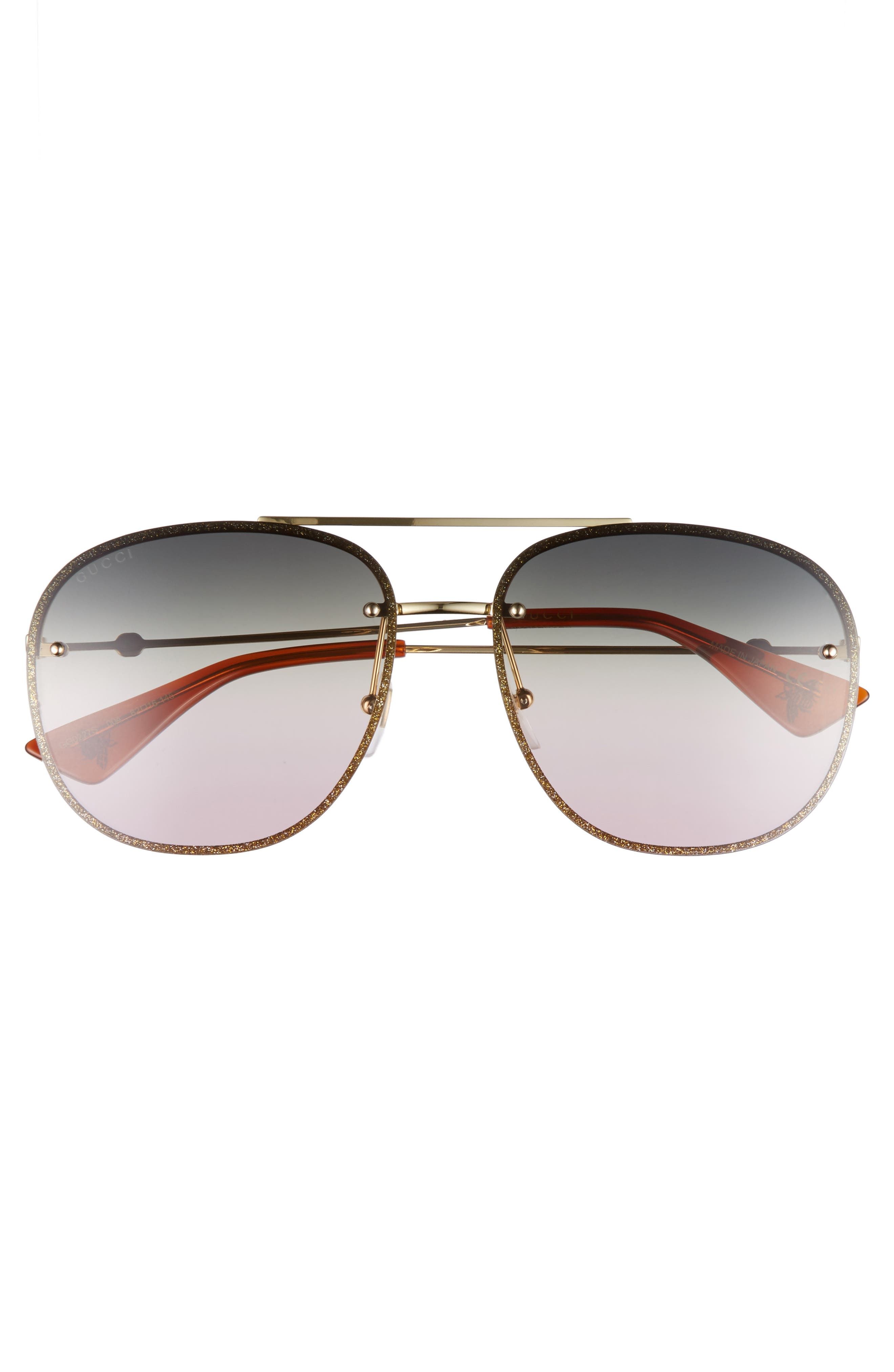 62mm Oversize Aviator Sunglasses,                             Alternate thumbnail 3, color,                             GOLD/ GREEN/ YELLOW/ NUDE