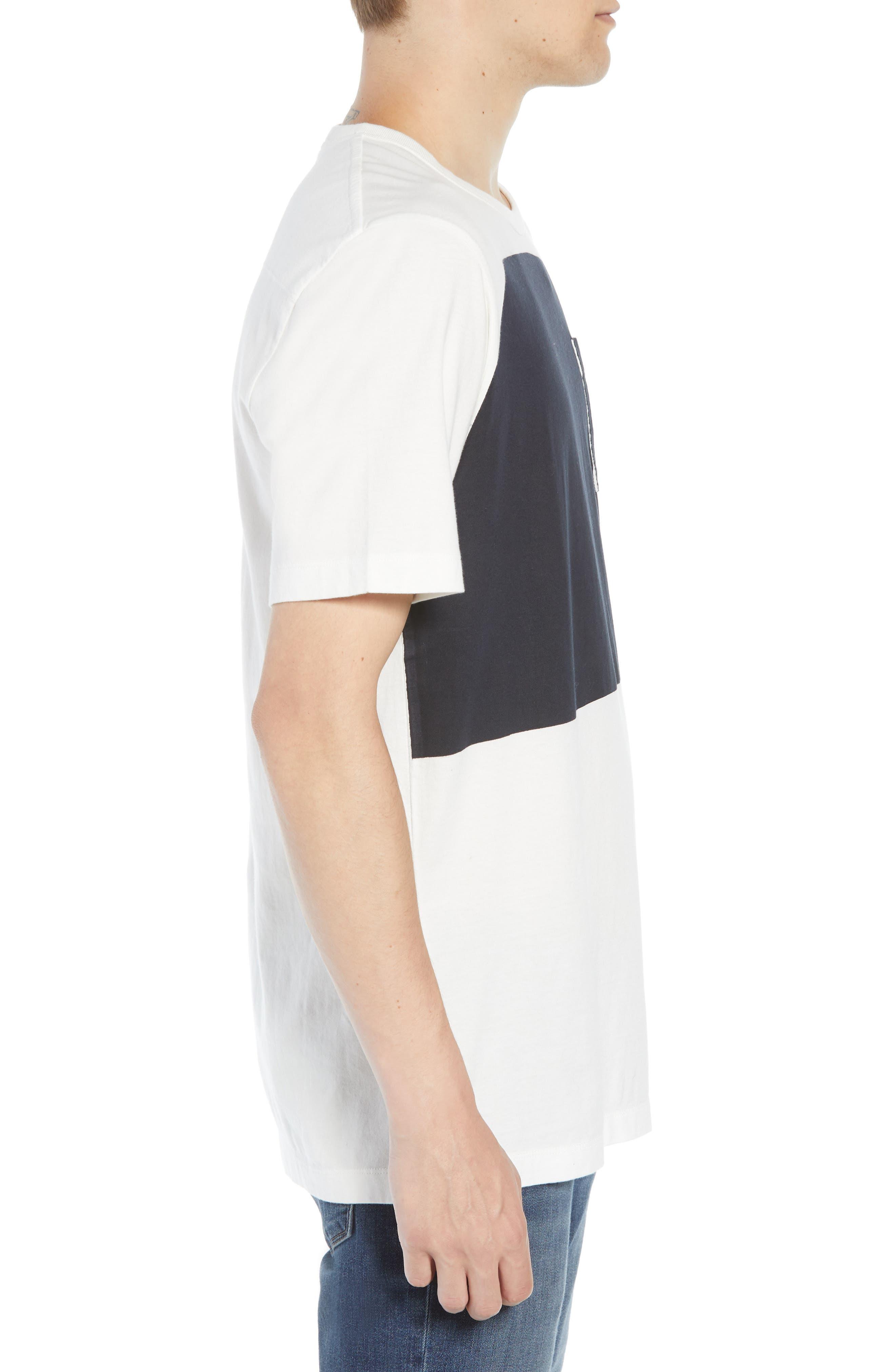Asymmetrical Colorblock Pocket T-Shirt,                             Alternate thumbnail 3, color,                             CUBA WHITE UTILITY BLUE