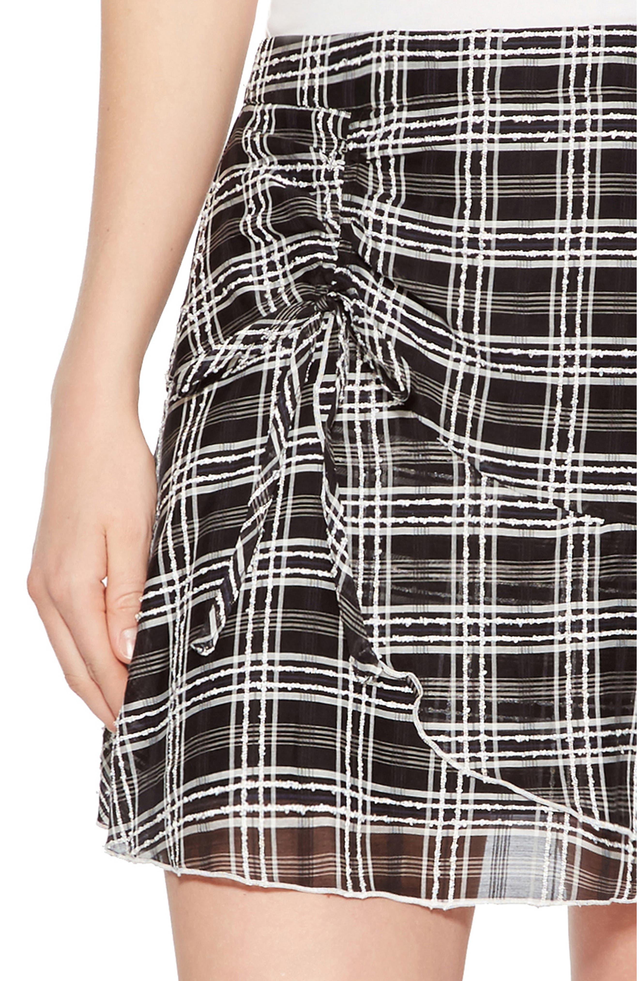 Chris Side Ruched Miniskirt,                             Alternate thumbnail 4, color,                             BLACK/ WHITE