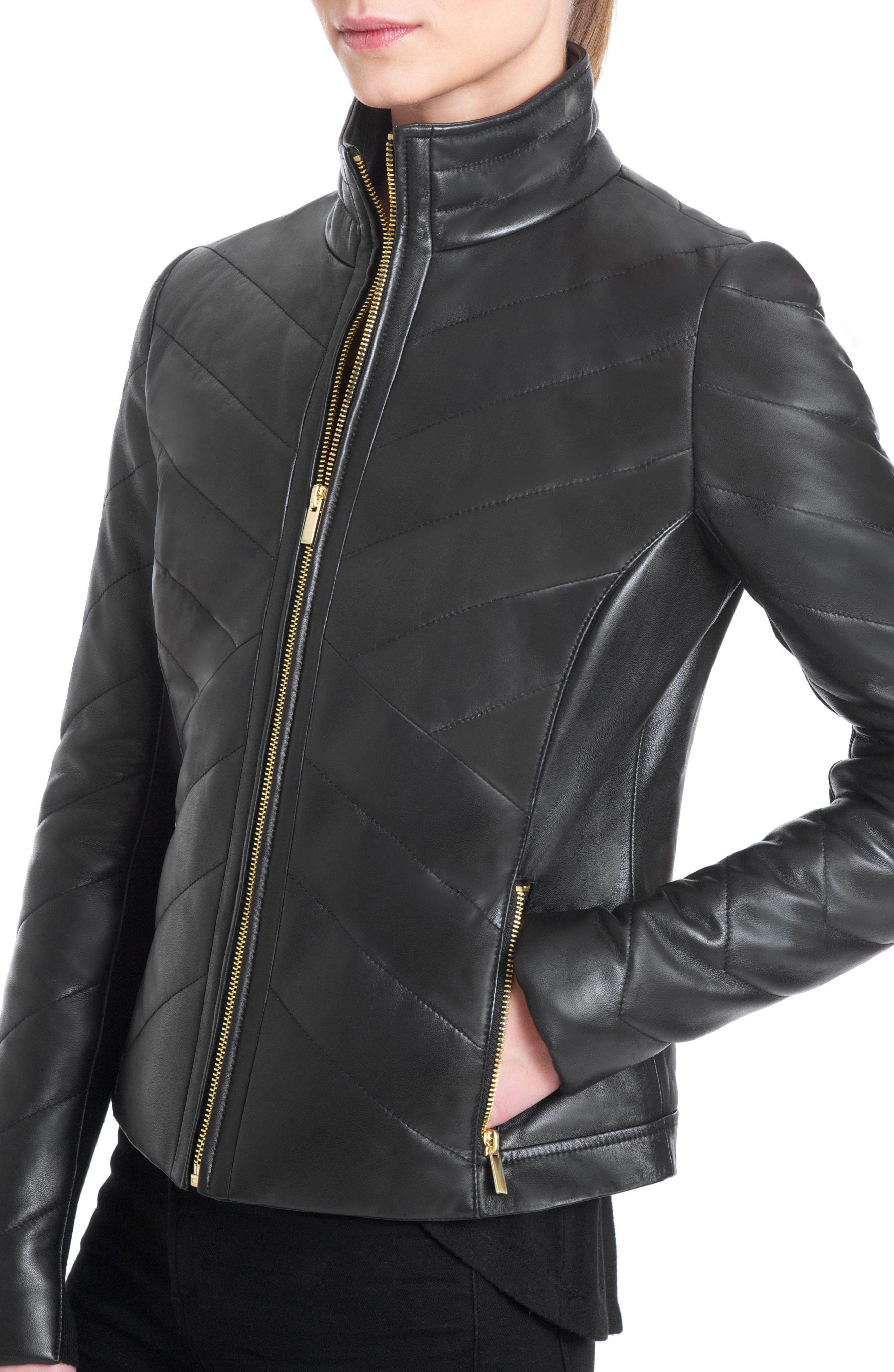 Badgley Mischka Eloise Quilted Leather Moto Jacket,                             Alternate thumbnail 3, color,                             001