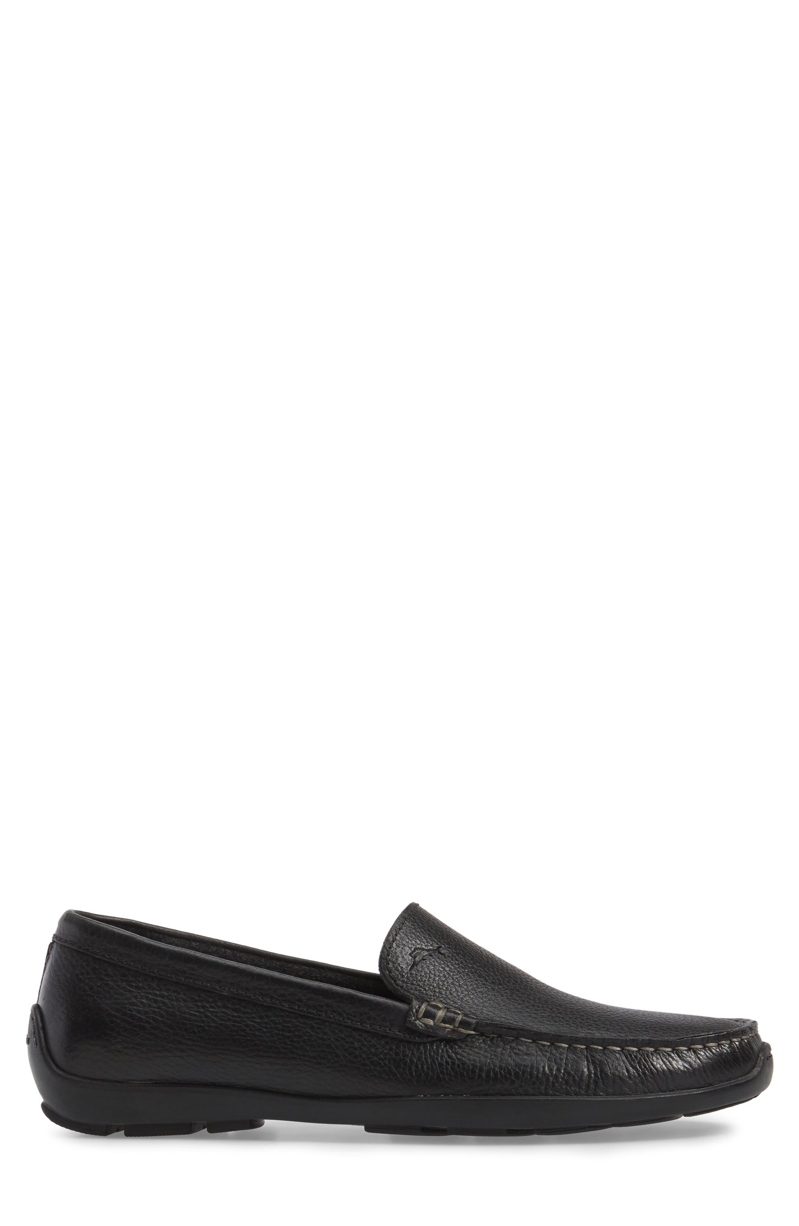 Orion Venetian Loafer,                             Alternate thumbnail 3, color,                             BLACK LEATHER
