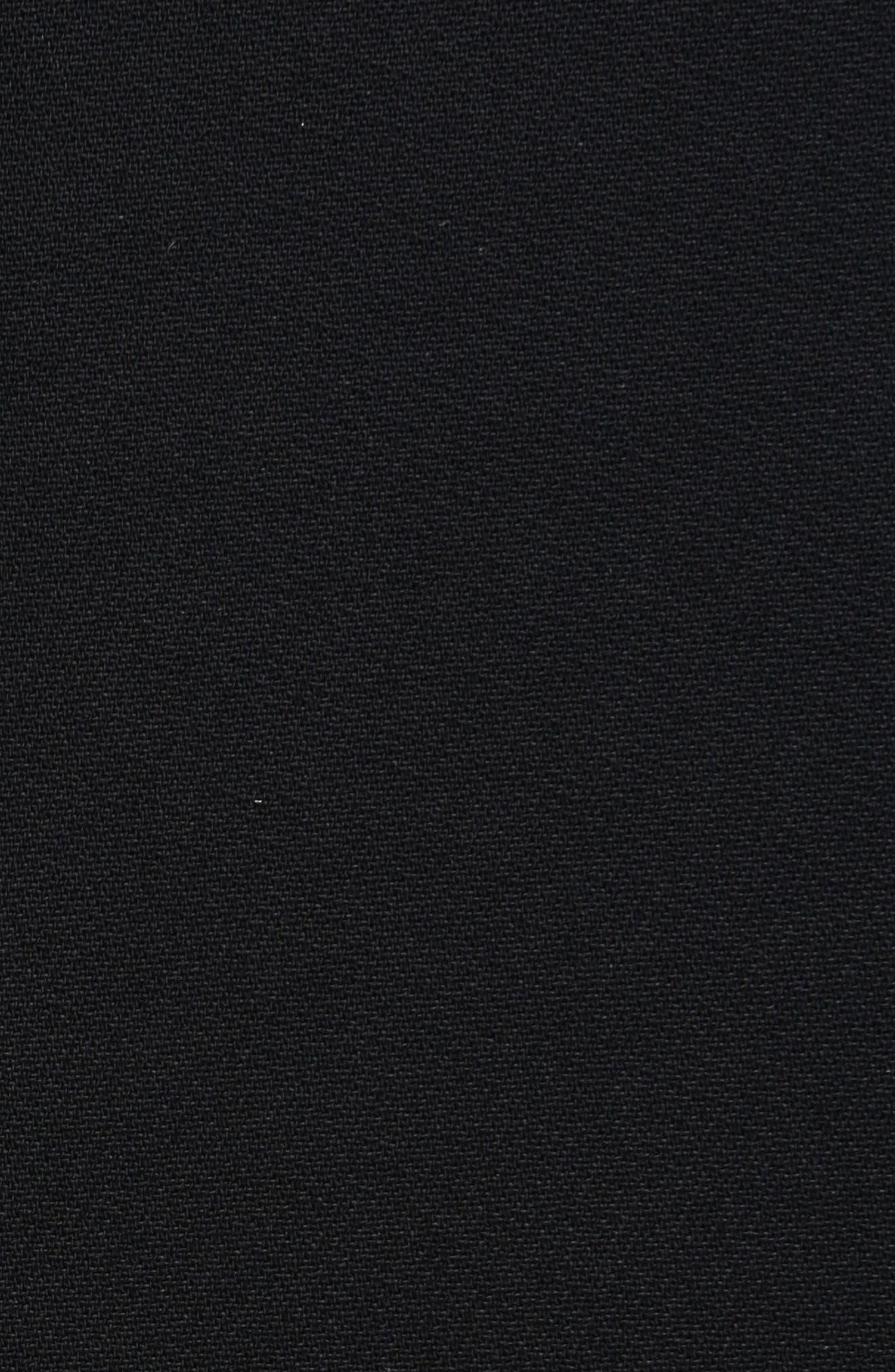 Lace Trim Stretch Cady Asymmetrical Dress,                             Alternate thumbnail 5, color,                             001