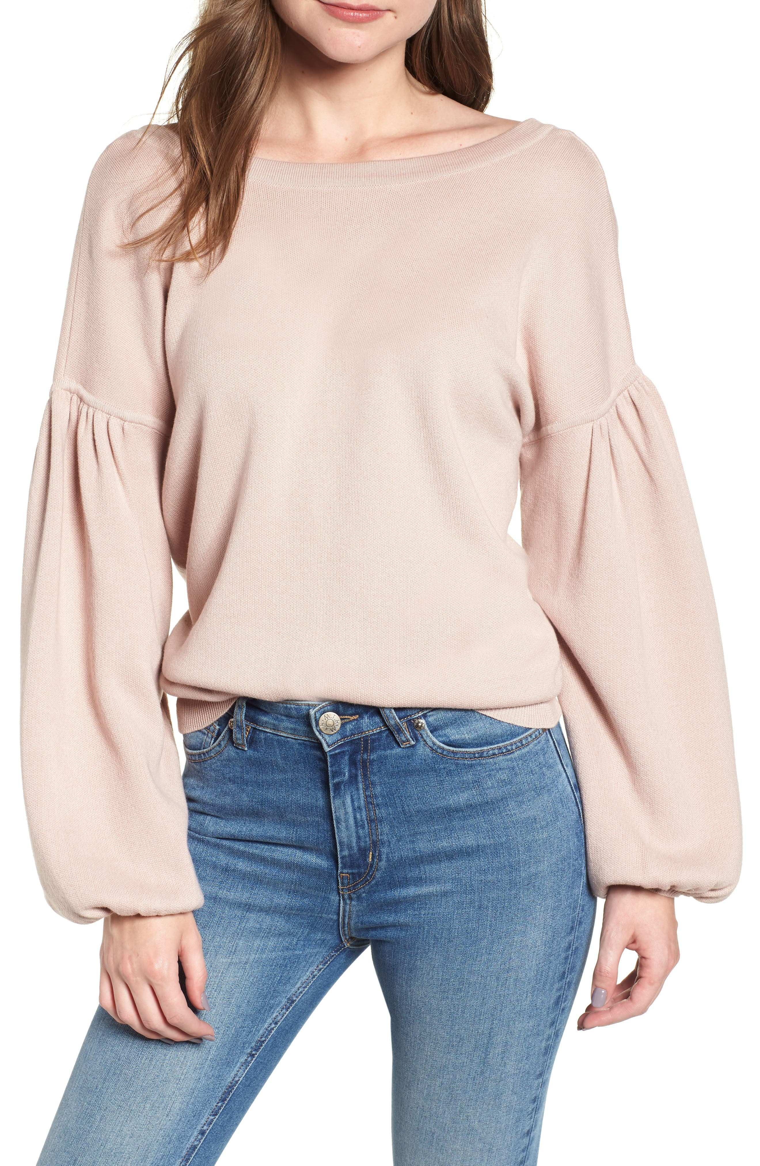 Bishop + Young Hailey Balloon Sleeve Sweater,                         Main,                         color, QUARTZ