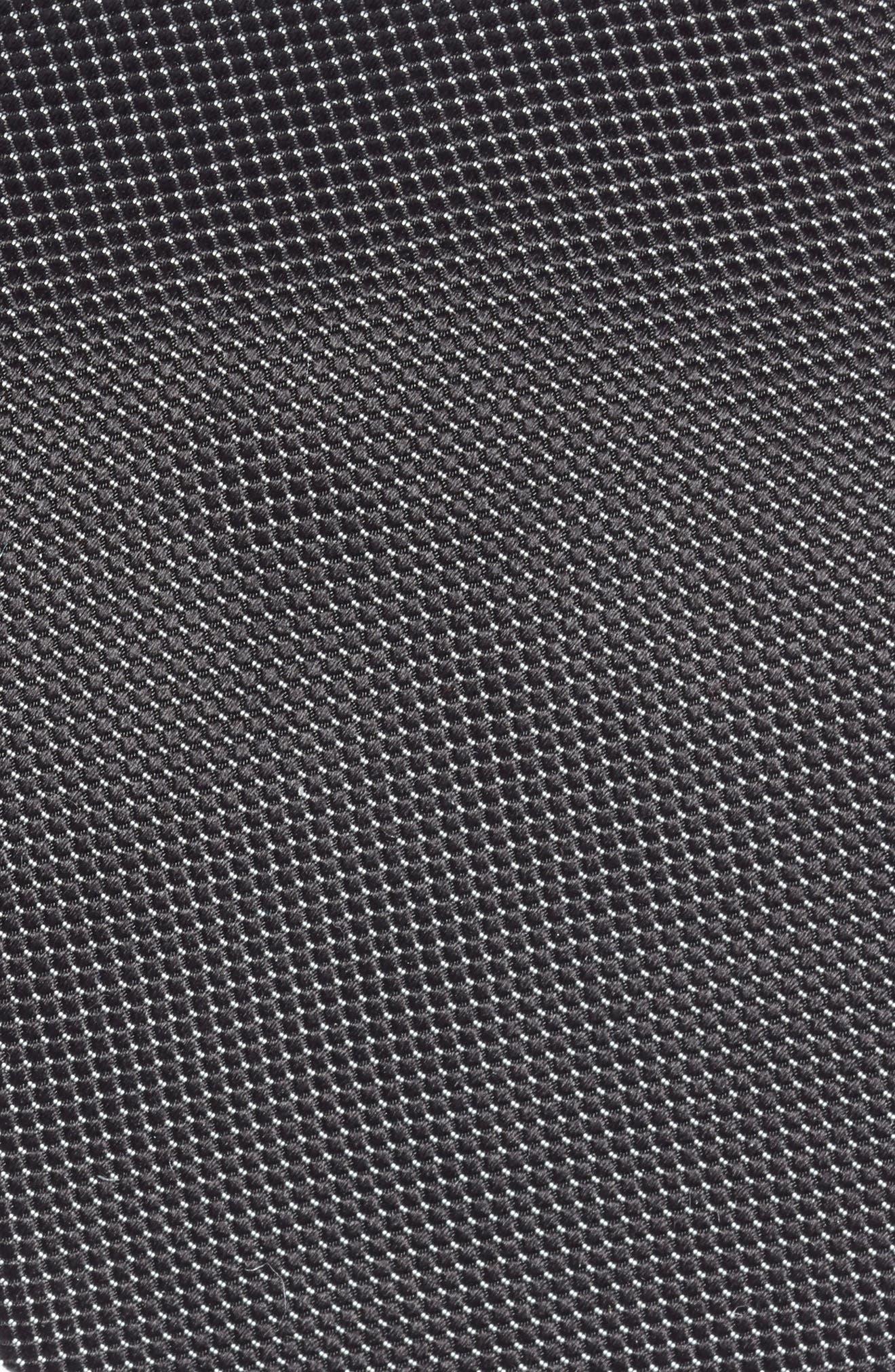 Solid Jacquard Silk Tie,                             Alternate thumbnail 2, color,                             BLACK