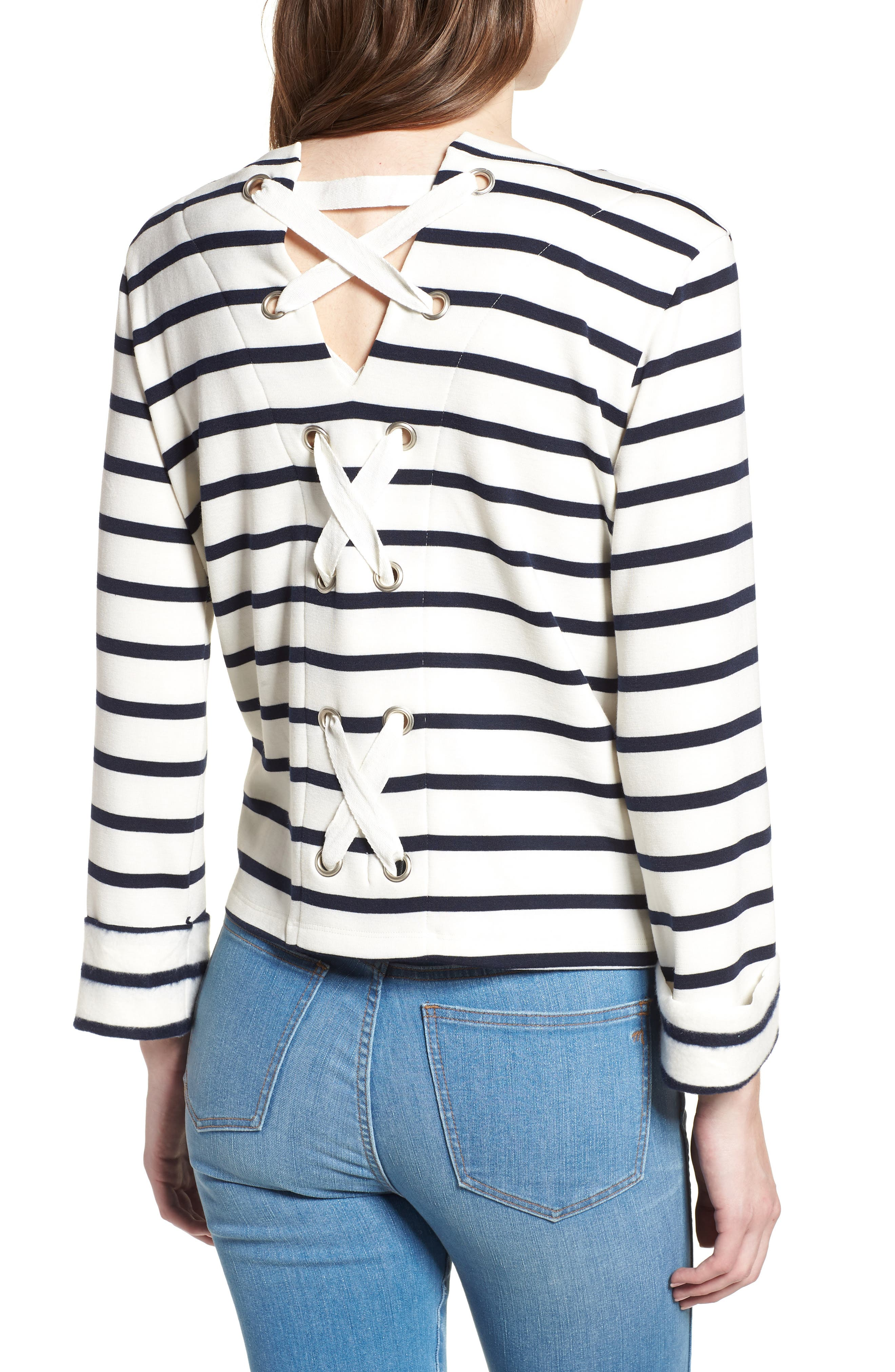 Bishop + Young Stripe Lace-Up Back Top,                             Alternate thumbnail 2, color,                             011