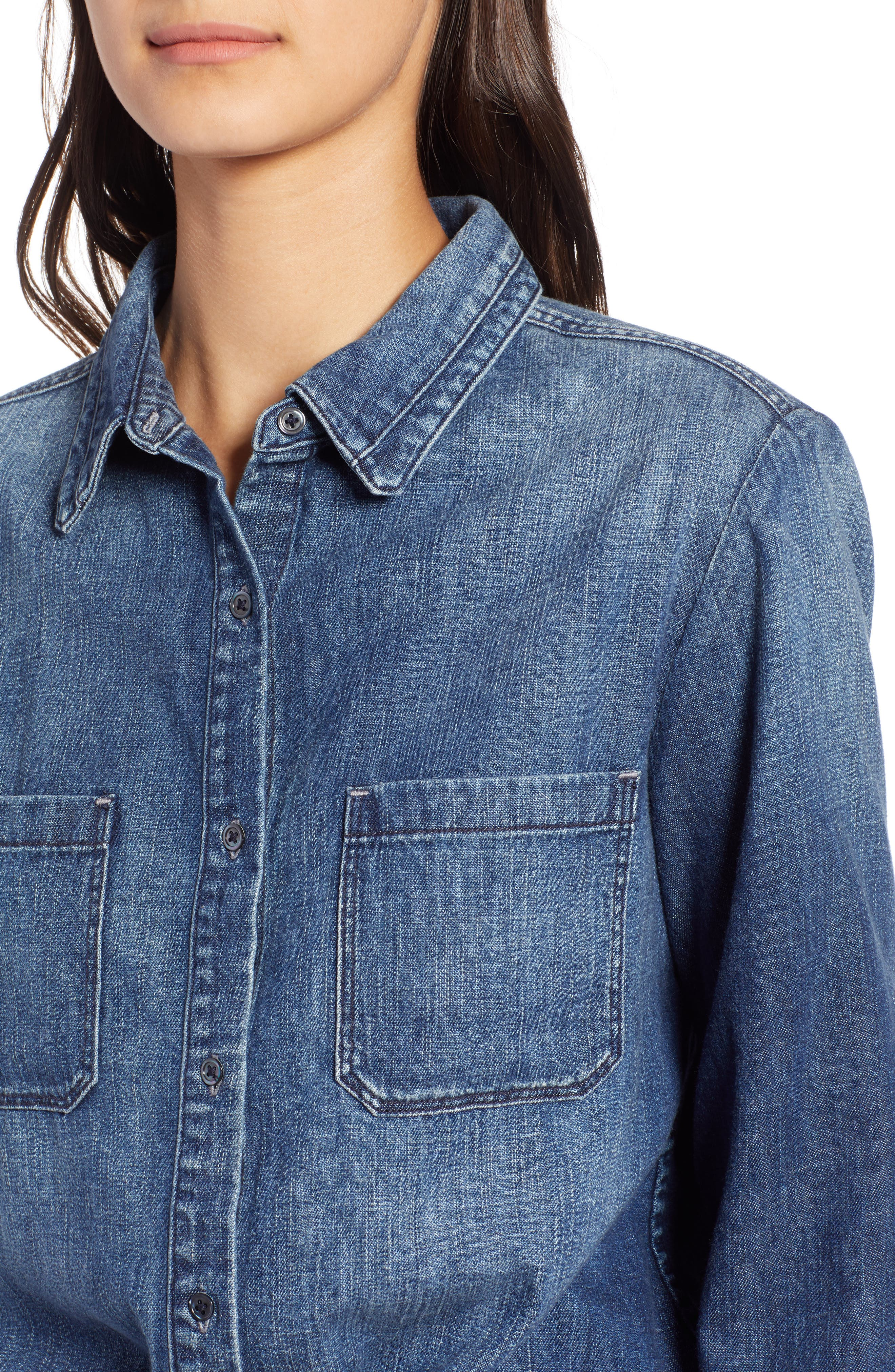 AG,                             Selena Chambray Shirt,                             Alternate thumbnail 4, color,                             283