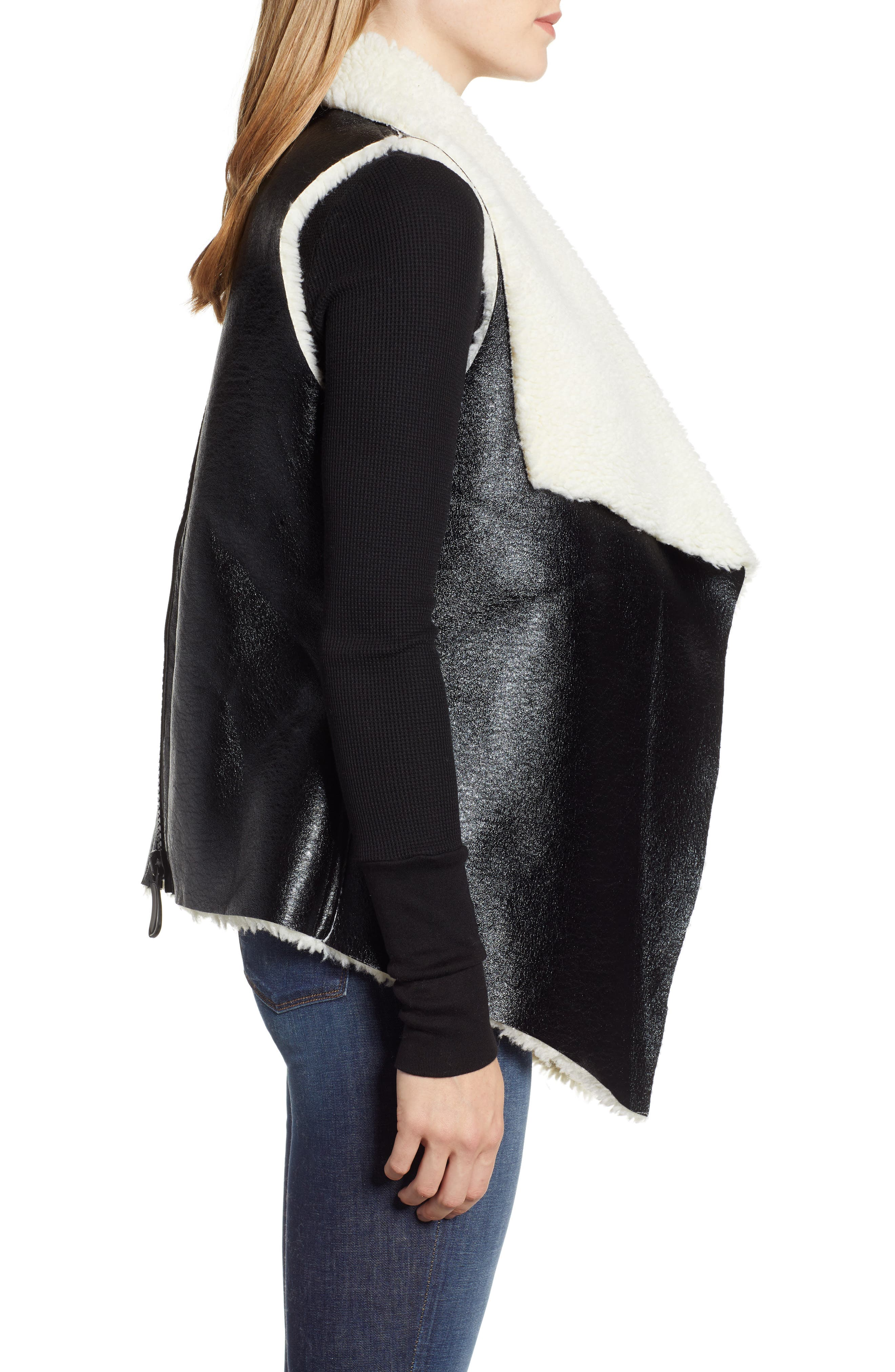 Fly Away Faux Shearling Back Zip Vest,                             Alternate thumbnail 3, color,                             BLACK