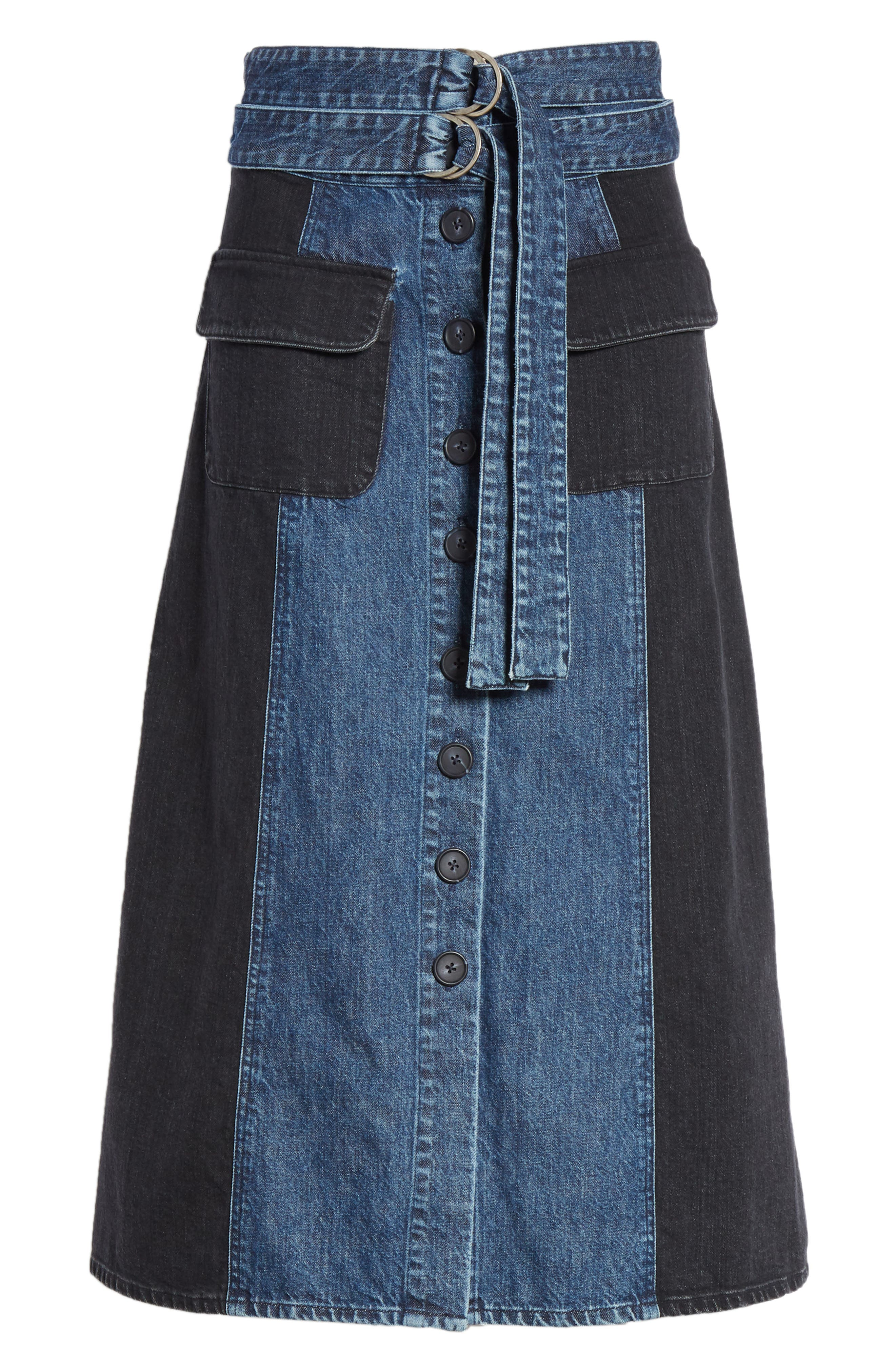 Bleu Bicolor Denim Midi Skirt,                             Alternate thumbnail 6, color,                             INDIGO/ BLACK