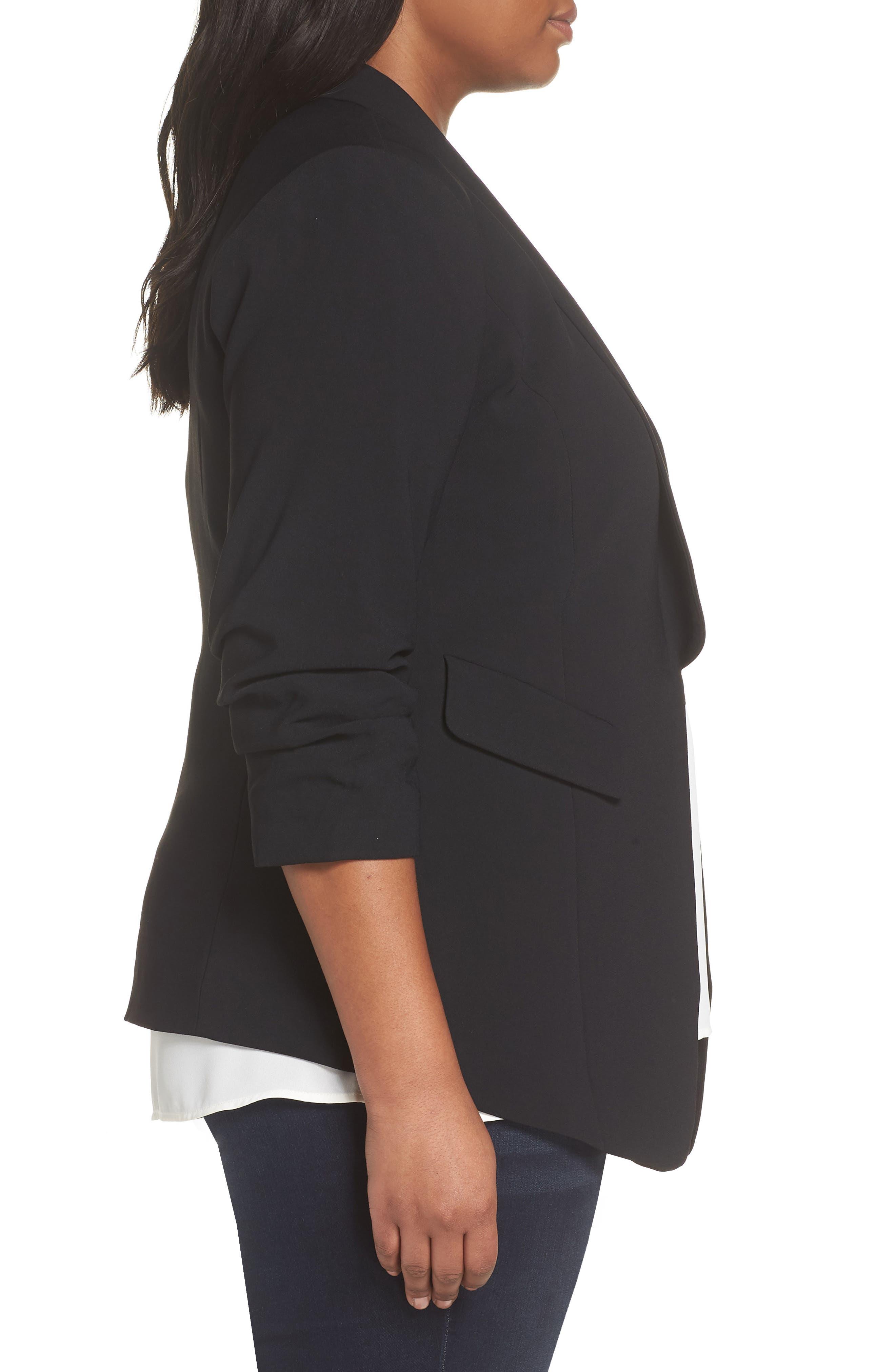 Gathered Sleeve Blazer,                             Alternate thumbnail 3, color,                             BLACK