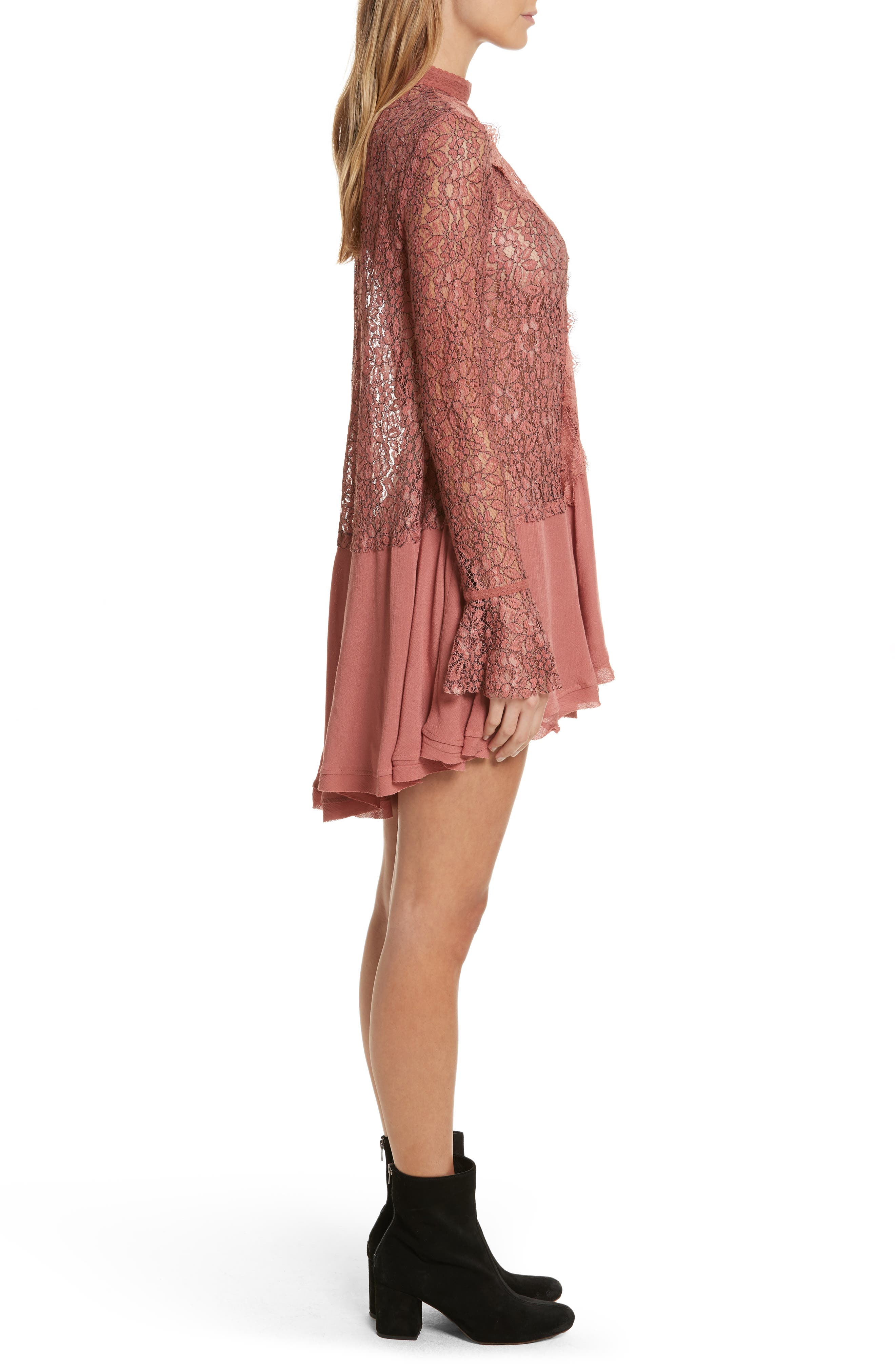 FREE PEOPLE,                             New Tell Tale Lace Minidress,                             Alternate thumbnail 3, color,                             605