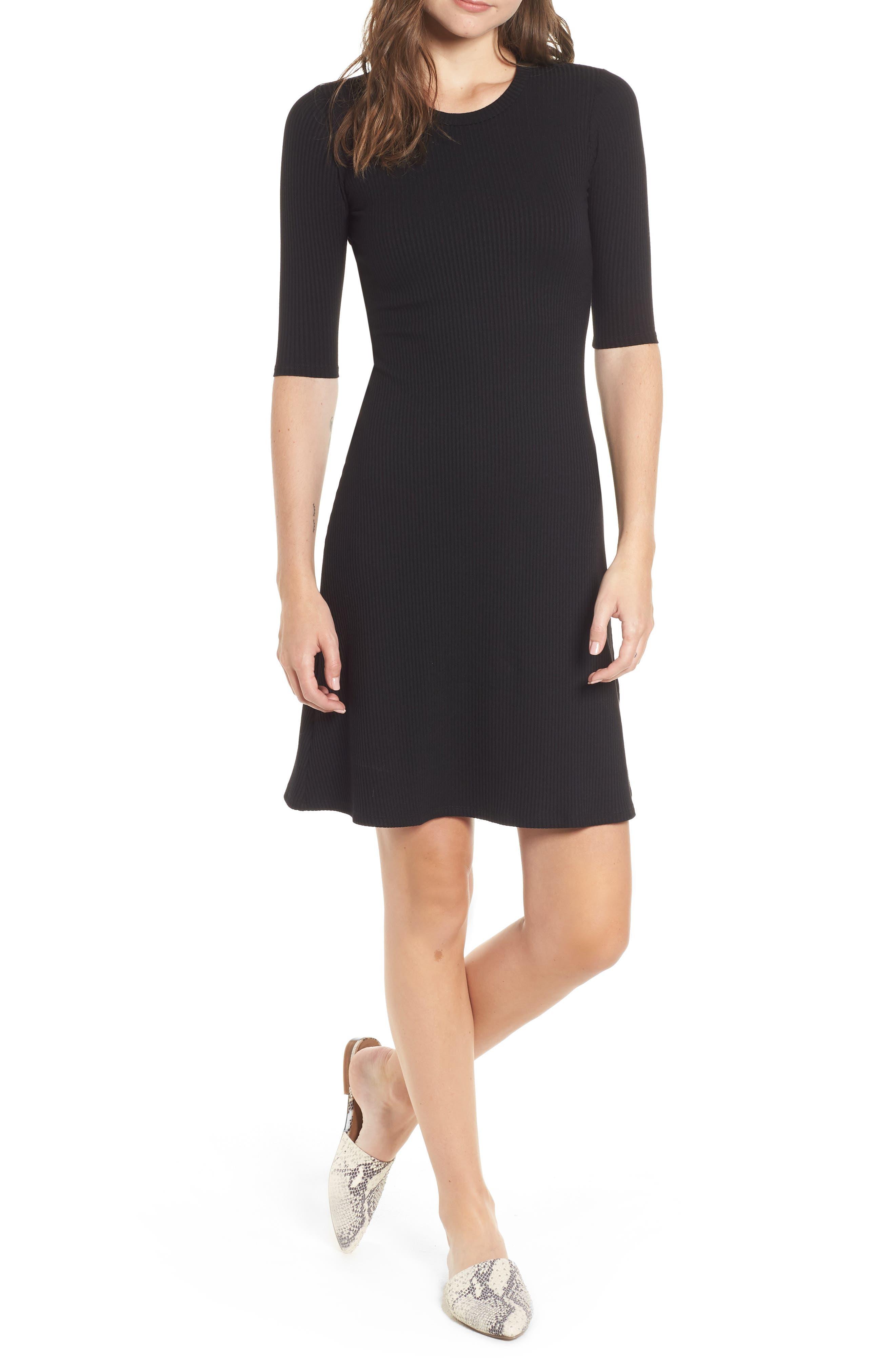 AMOUR VERT Marilyn Rib Fit & Flare Dress in Black