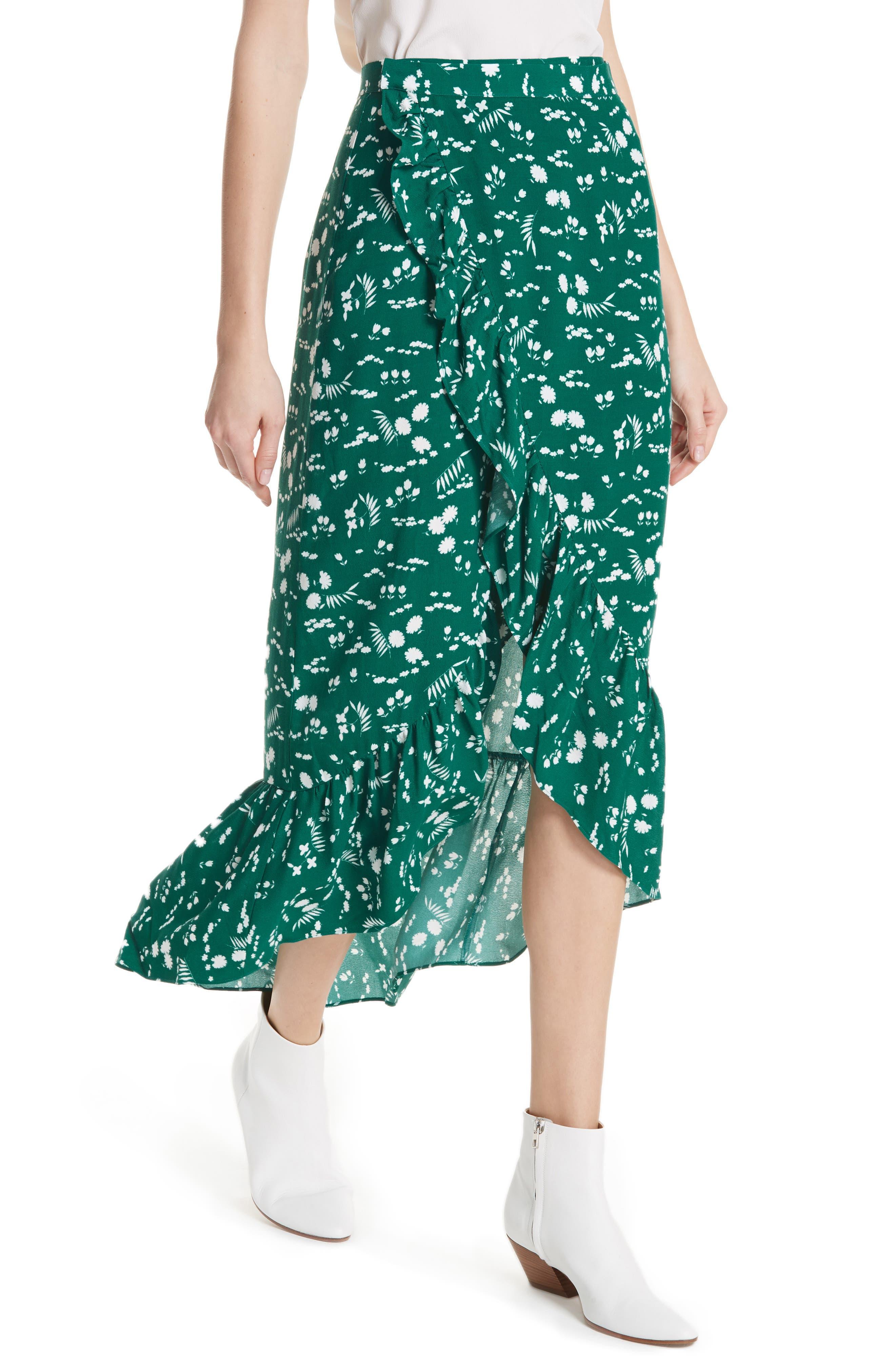 Floral High/Low Wrap Skirt,                             Alternate thumbnail 4, color,
