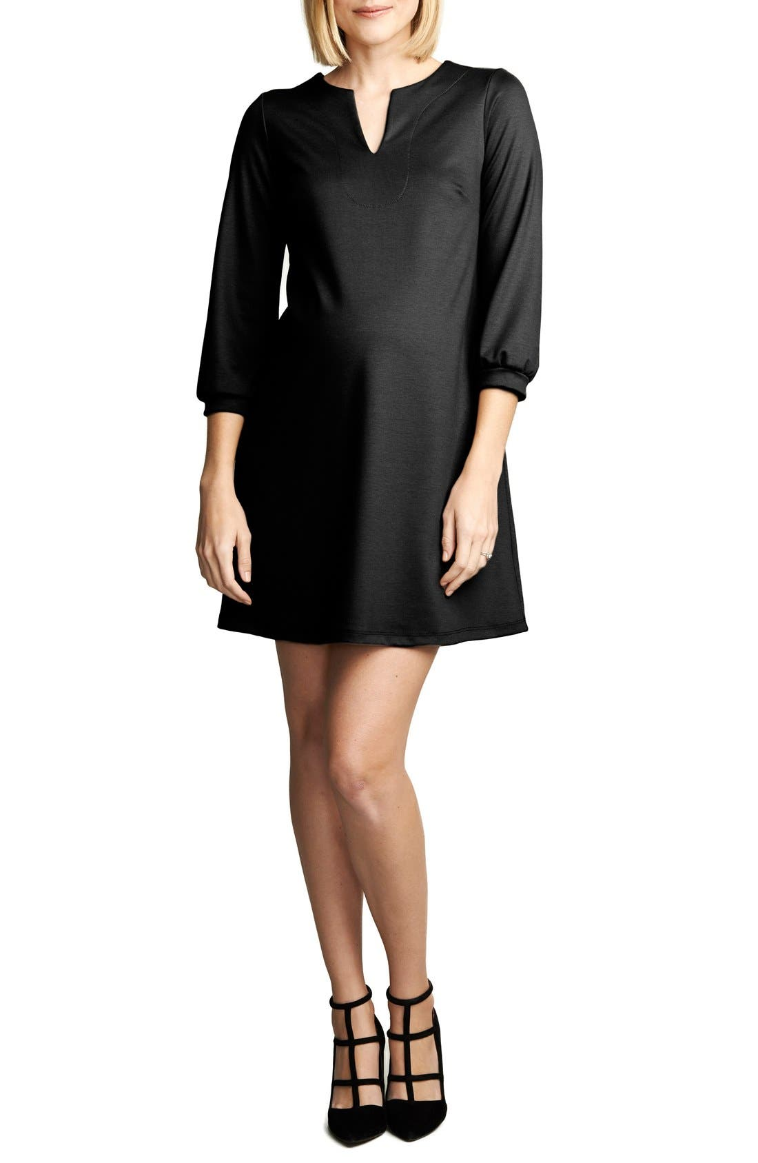 Shift Maternity Dress,                         Main,                         color, BLACK