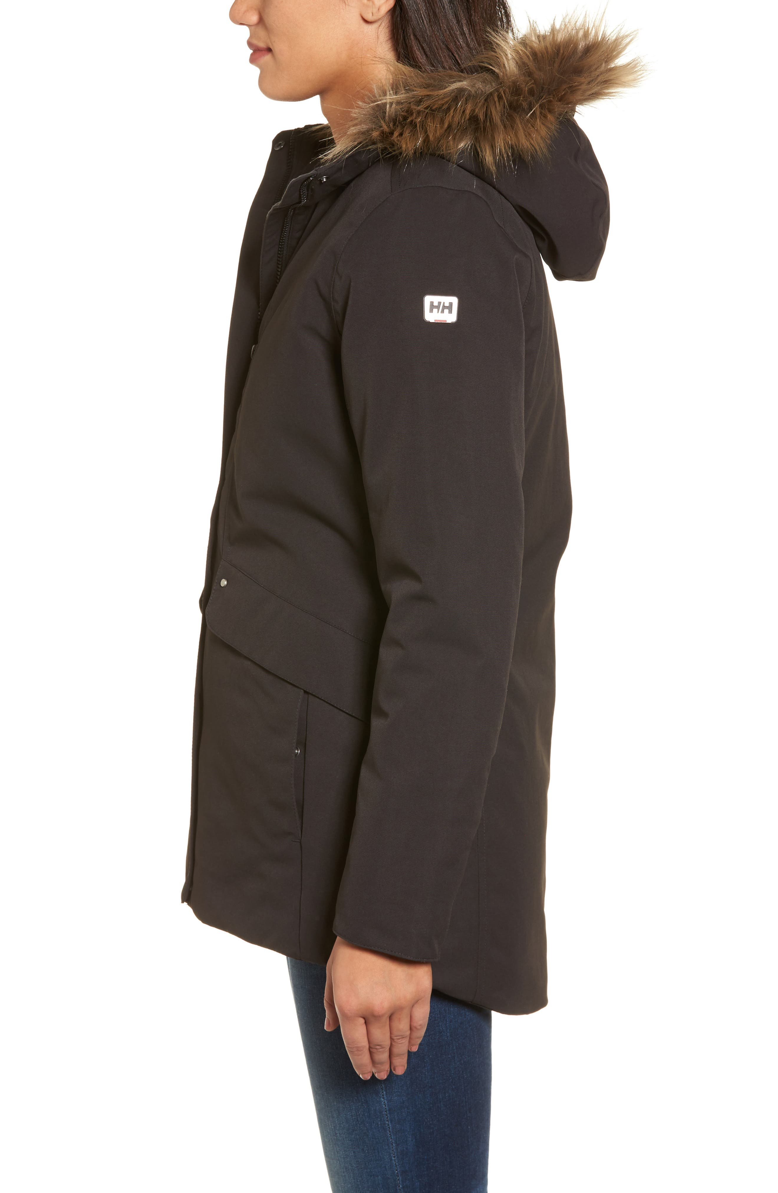 Helly Hansen 'Eira' Waterproof Jacket with Faux Fur Hood,                             Alternate thumbnail 3, color,                             009