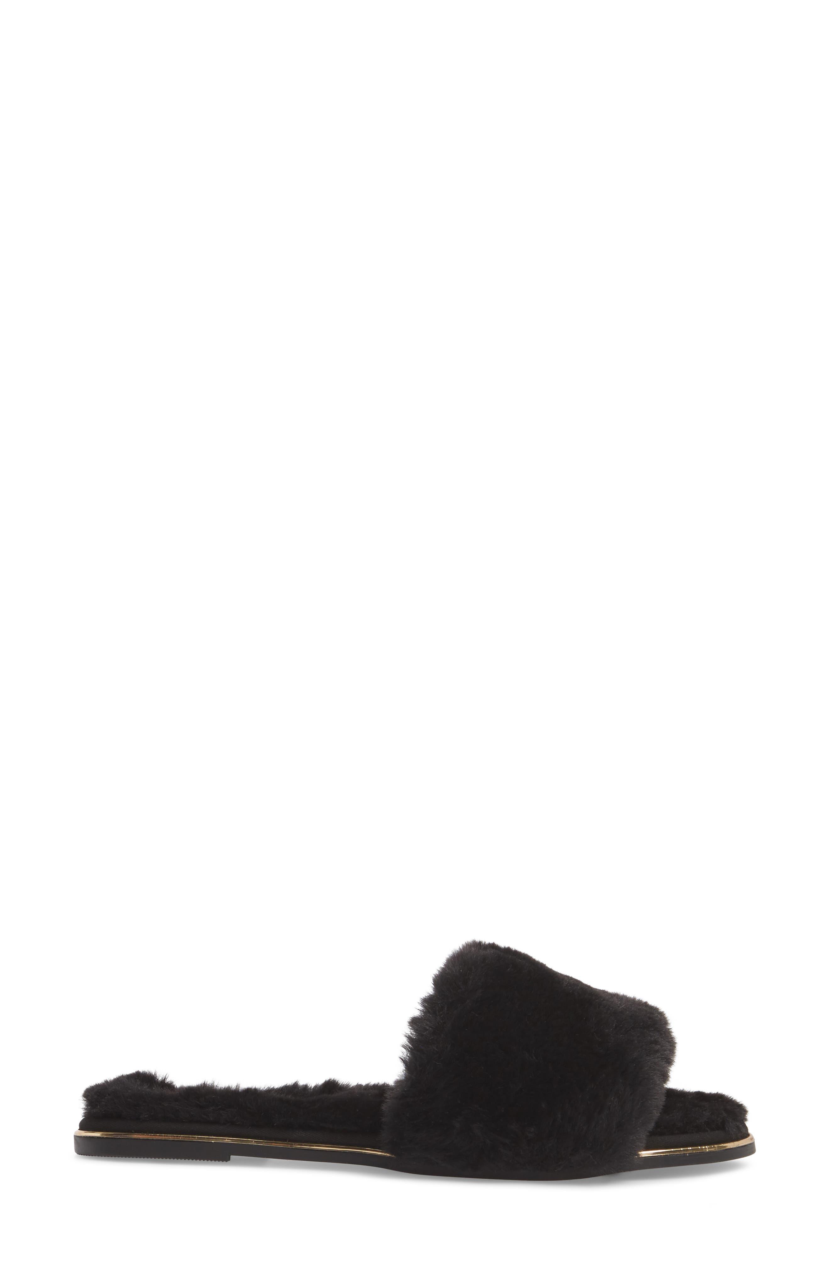 Rose Faux Fur Slide Sandal,                             Alternate thumbnail 3, color,                             BLACK FAUX FUR