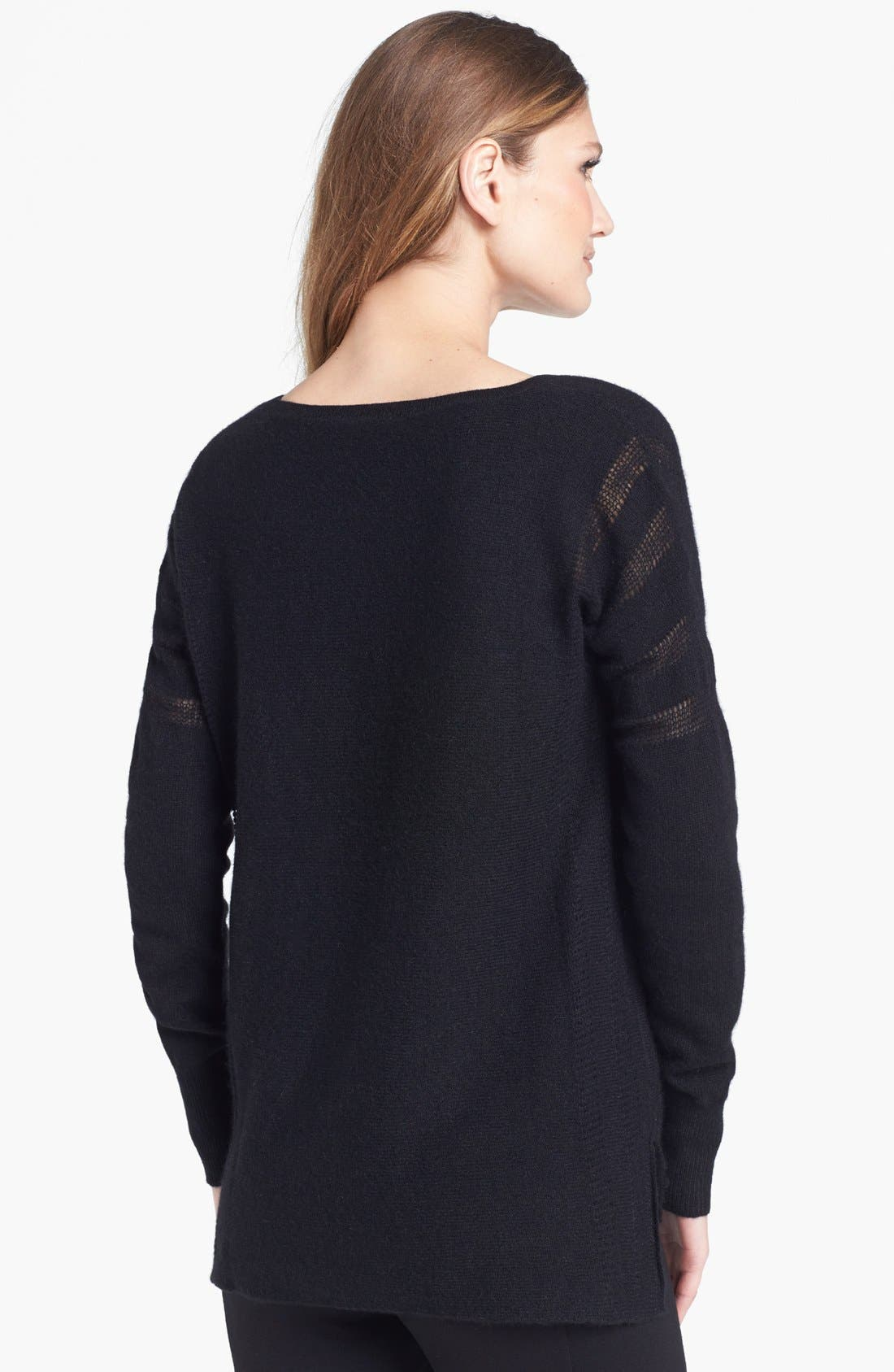 V-Neck Cashmere Sweater,                             Alternate thumbnail 2, color,                             001