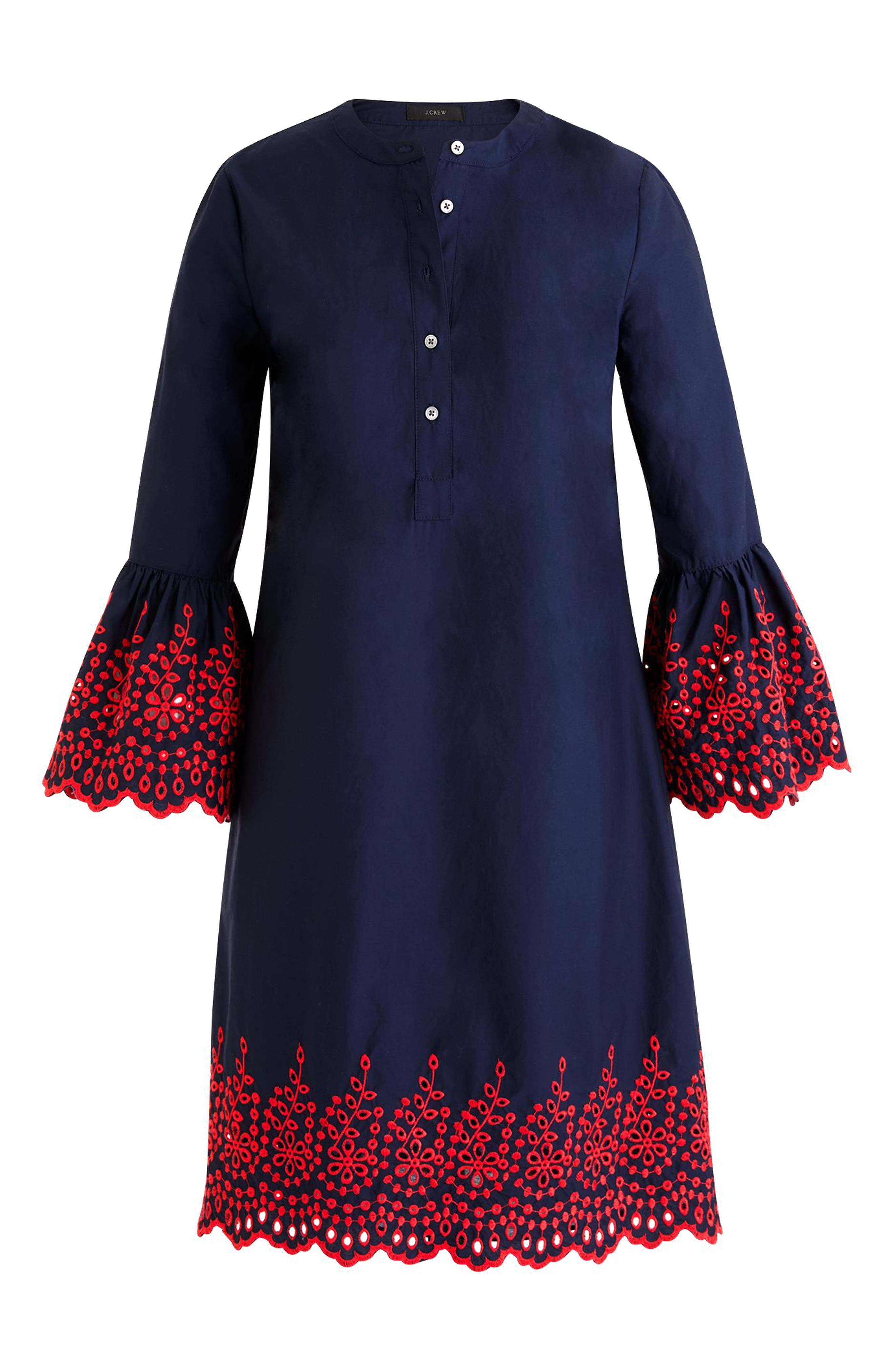 Eyelet Bell Sleeve Dress,                             Main thumbnail 1, color,