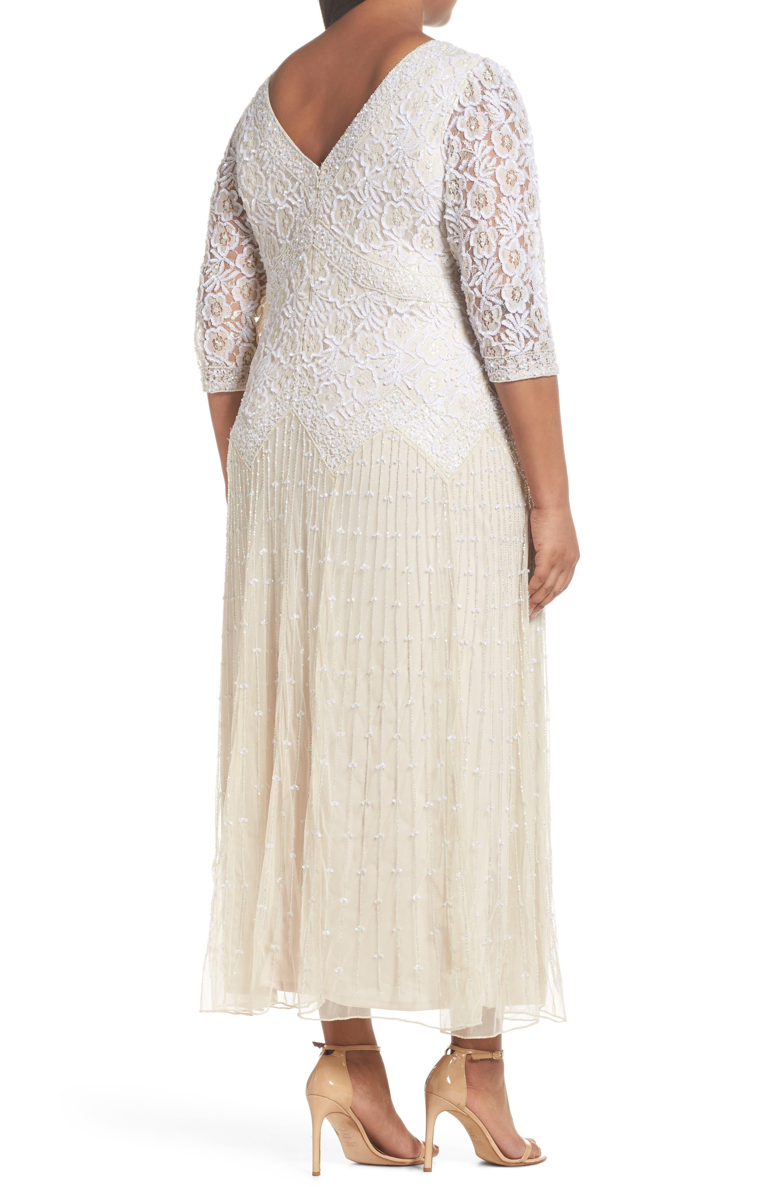 Beaded V-Neck Lace Illusion Gown,                             Alternate thumbnail 2, color,                             CHAMPAGNE