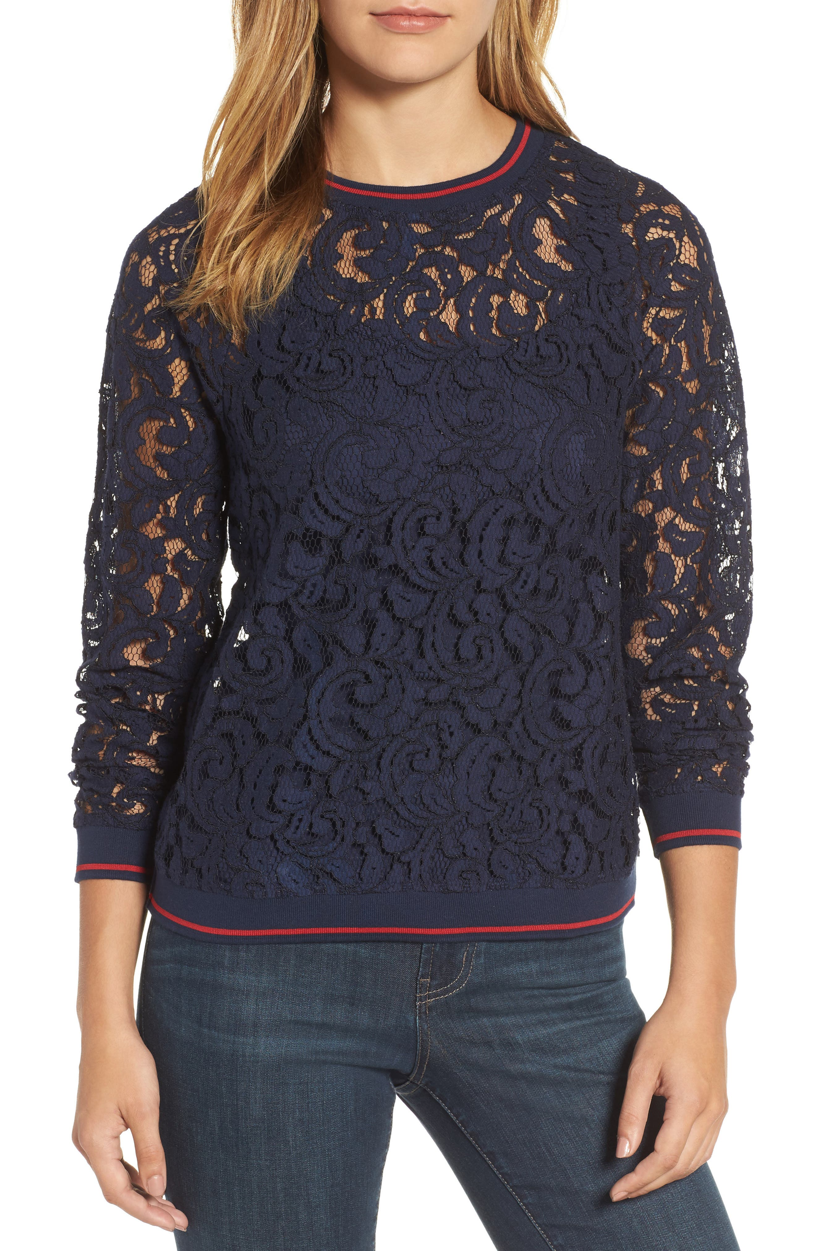 Ribbed Trim Lace Top,                         Main,                         color, 401