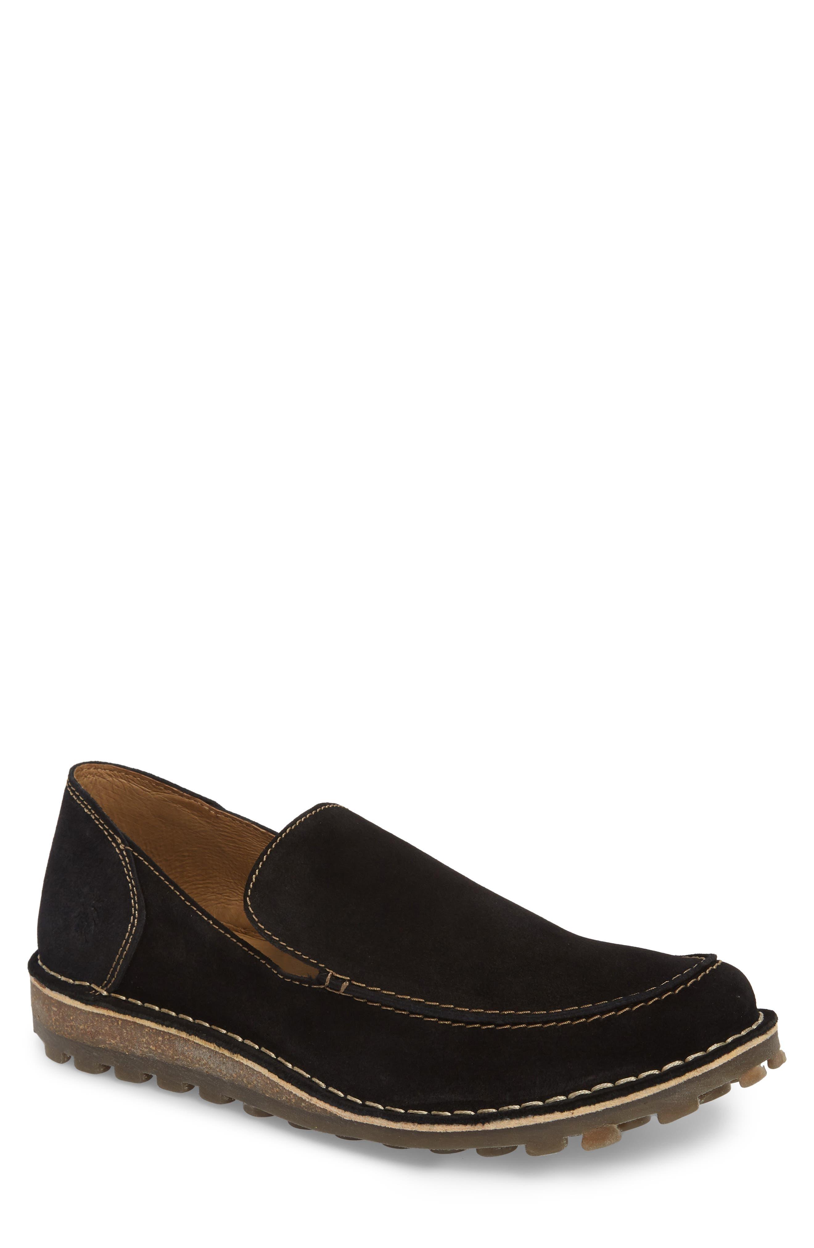 Meve Moc Toe Loafer,                         Main,                         color, BLACK SUEDE