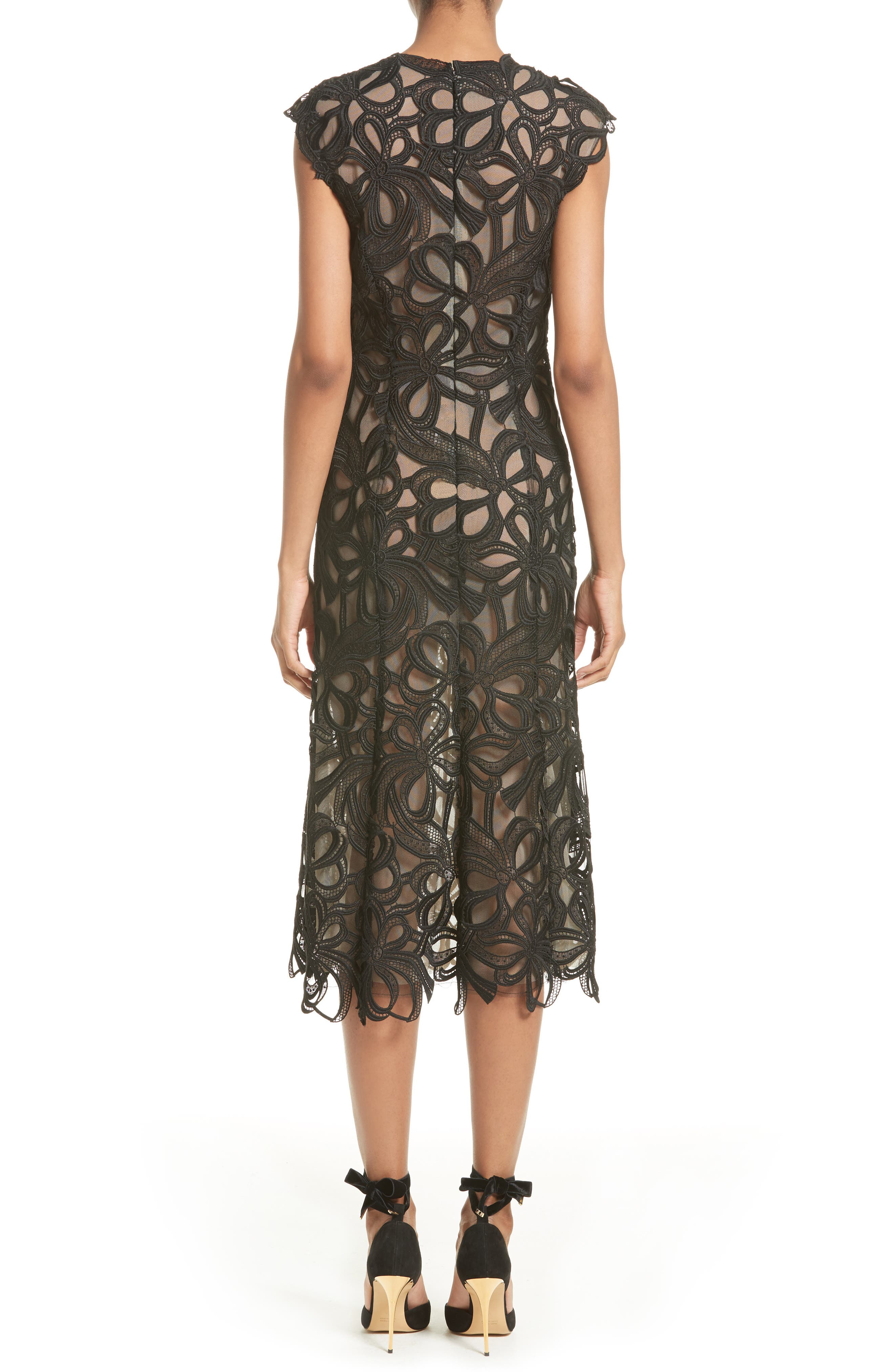 Ribbon Guipure Lace Midi Dress,                             Alternate thumbnail 2, color,                             001