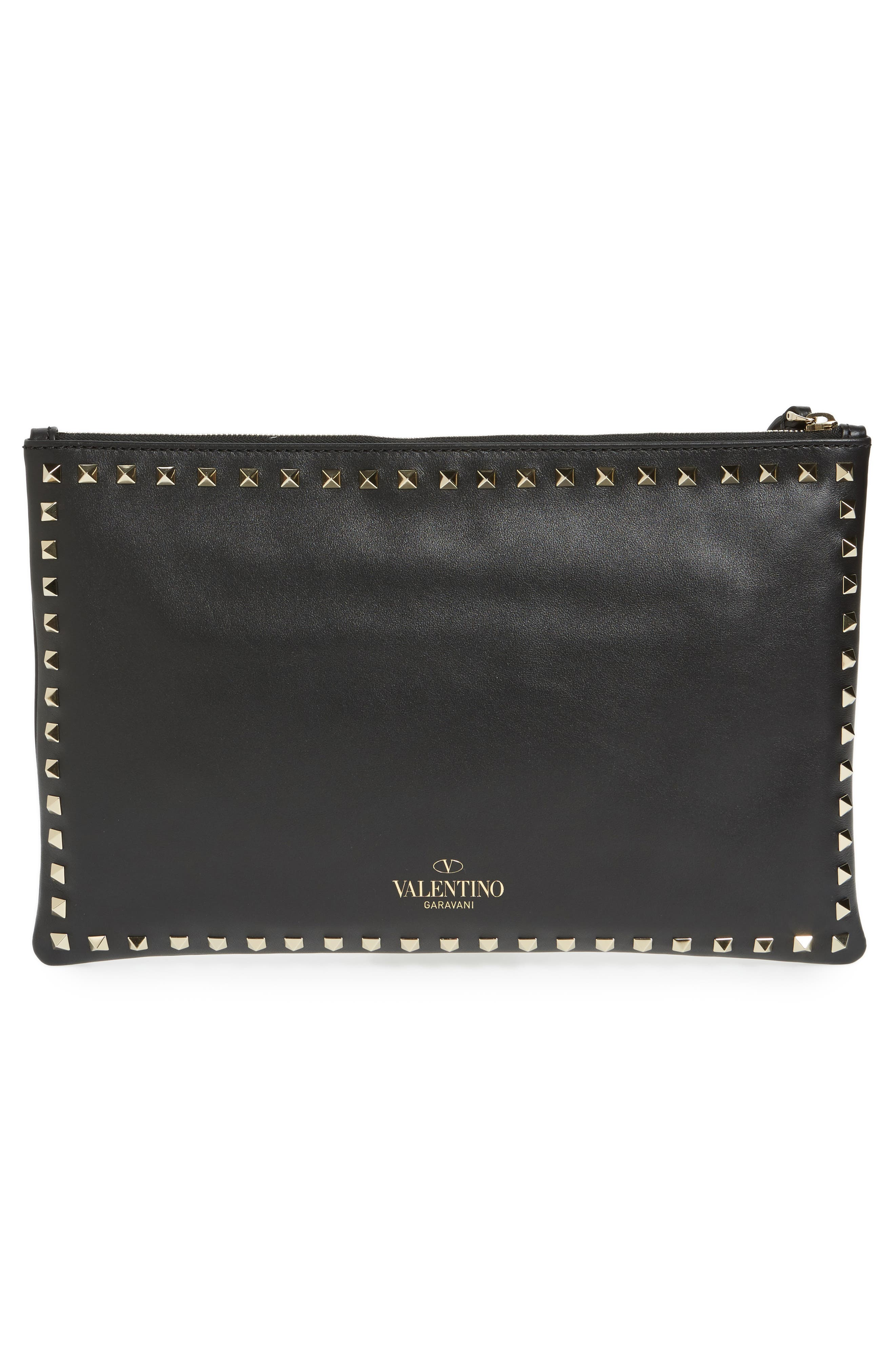 Valentino Small Rockstud Vitello Leather Clutch,                             Alternate thumbnail 4, color,                             001