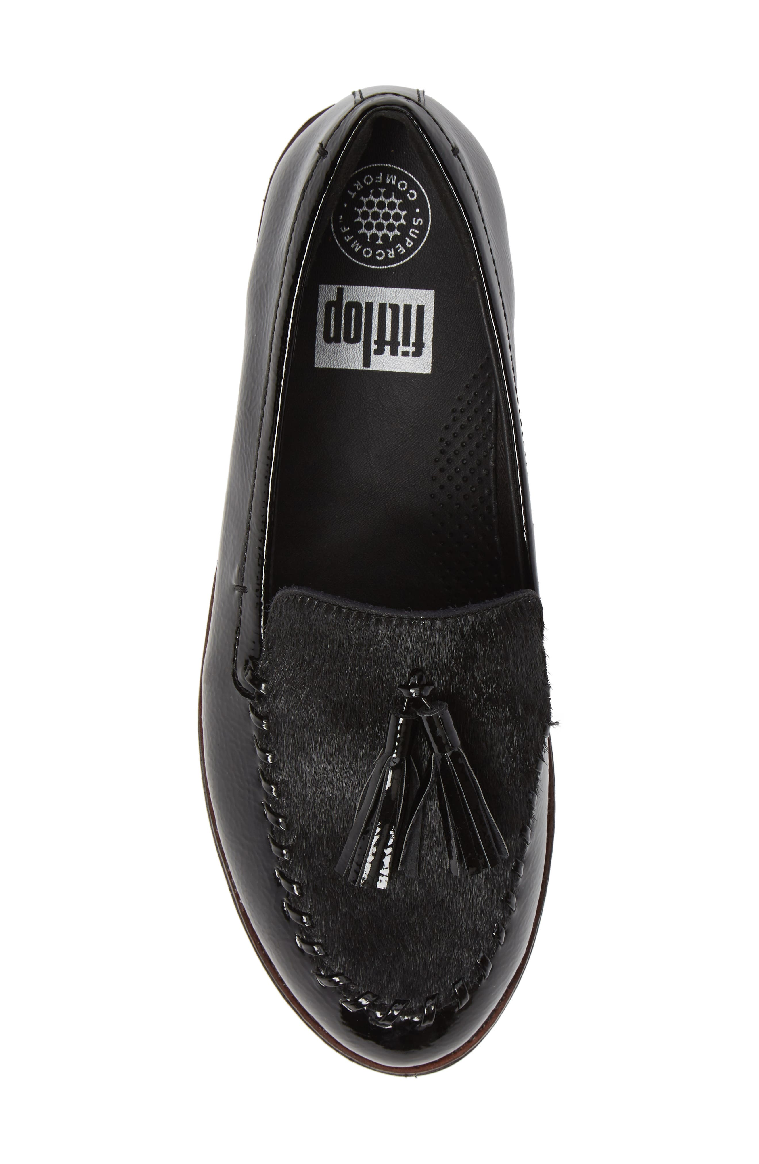 Petrina Genuine Calf Hair Loafer,                             Alternate thumbnail 5, color,                             BLACK FAUX LEATHER