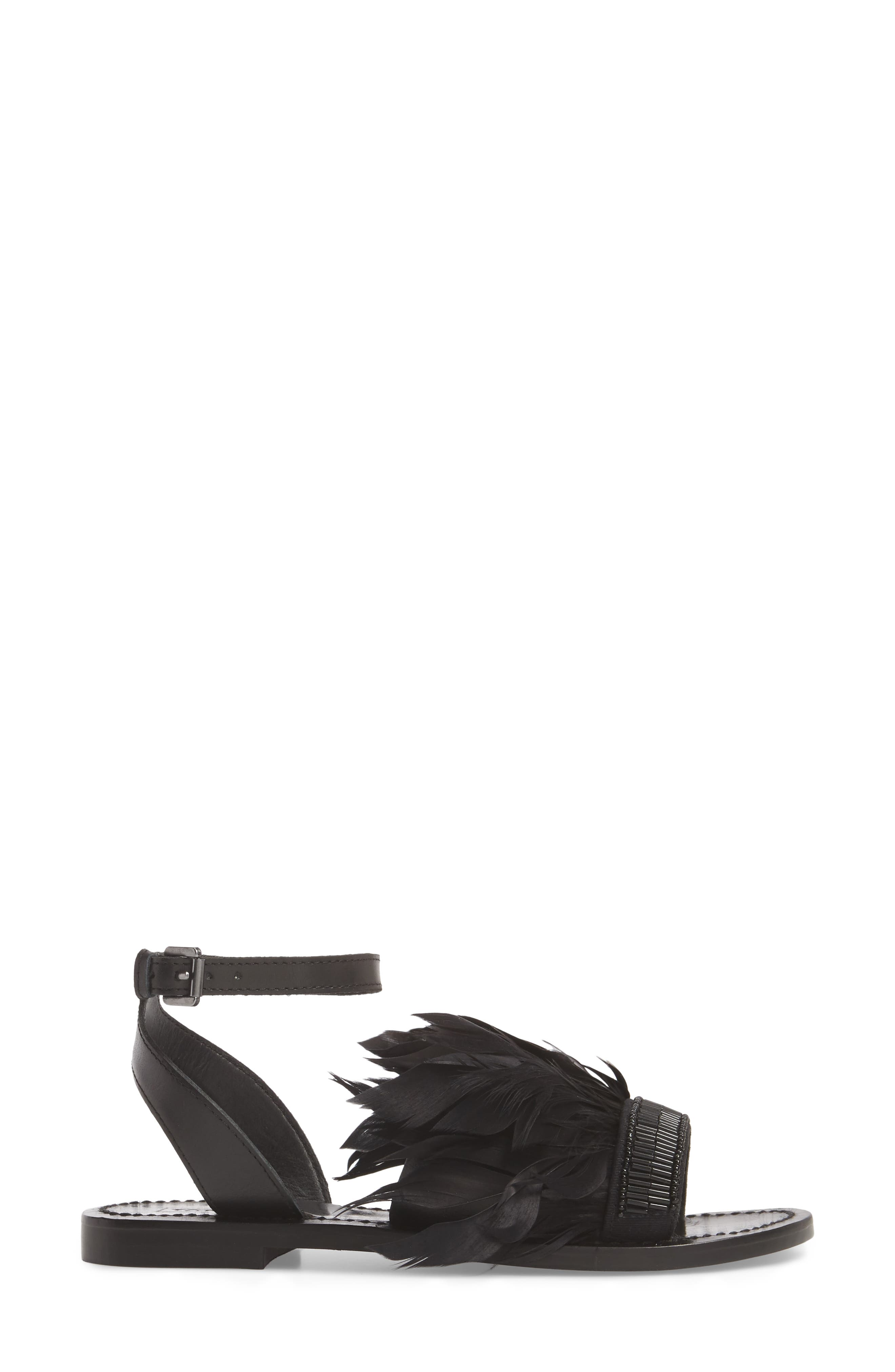 Firework Feathered Sandal,                             Alternate thumbnail 3, color,                             001