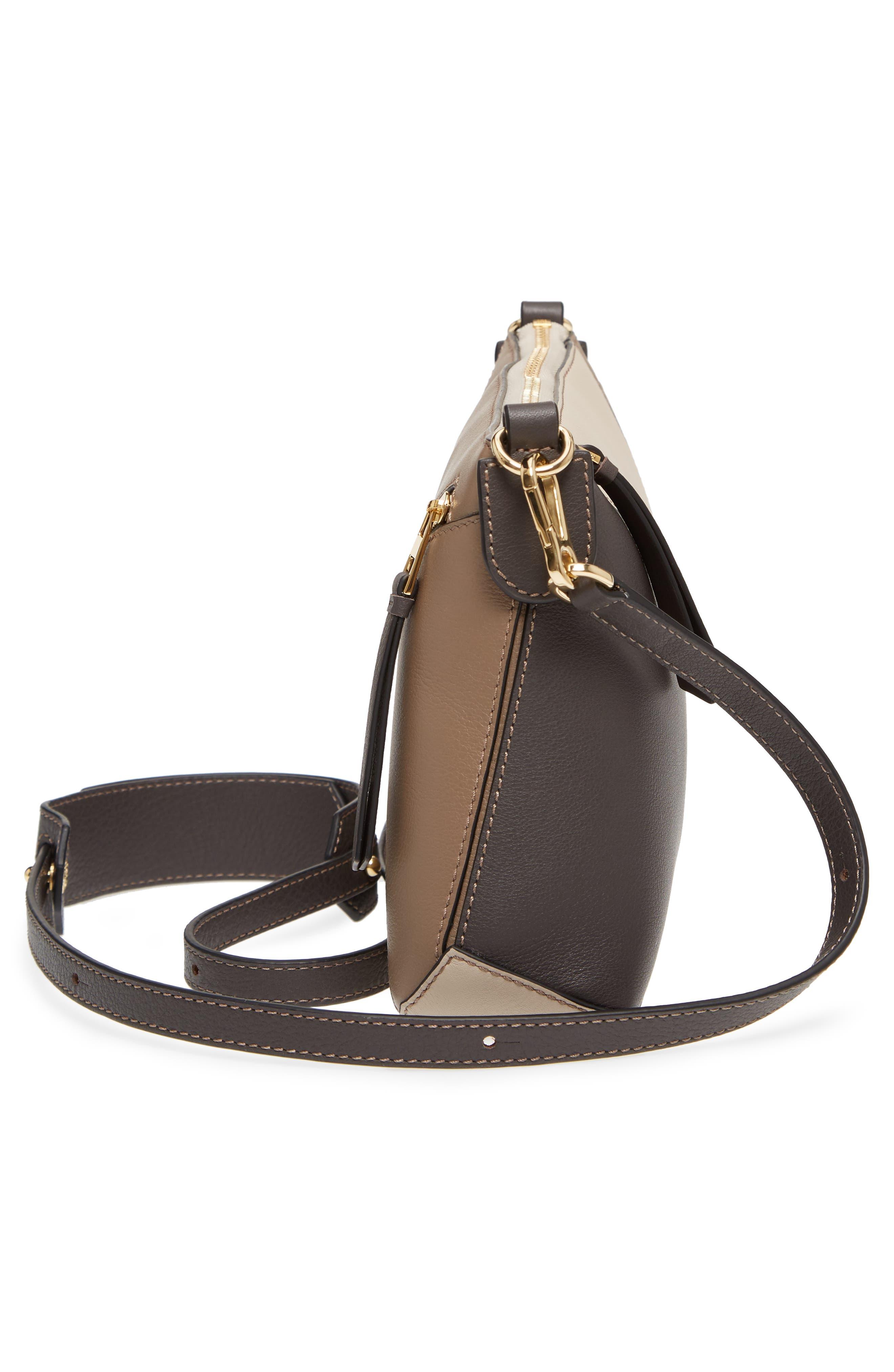 Mini Puzzle Calfskin Leather Crossbody Bag,                             Alternate thumbnail 5, color,                             DARK TAUPE MULTITONE