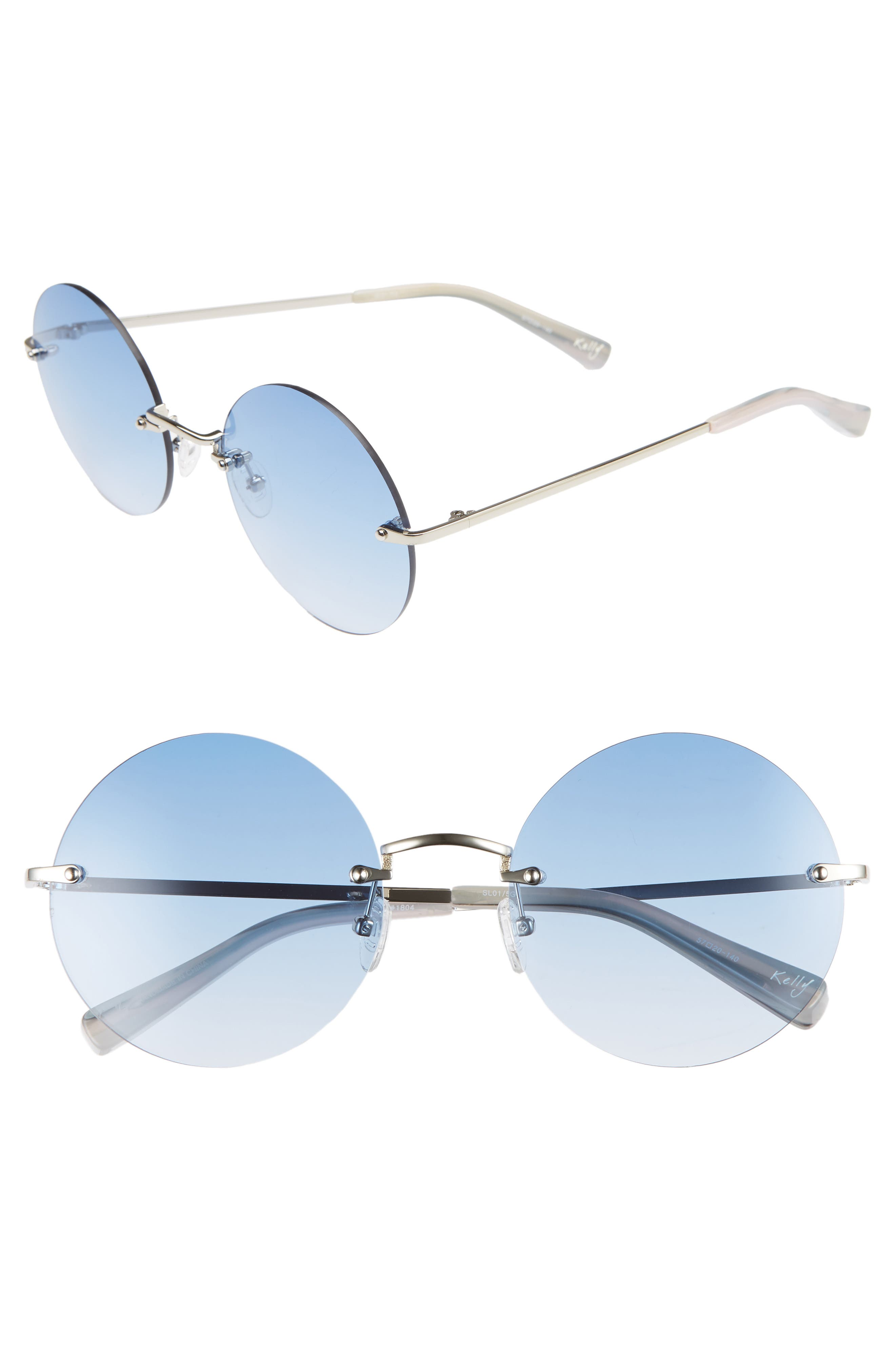 Kelly 57mm Rimless Round Sunglasses,                             Main thumbnail 1, color,                             SILVER/ BLUE