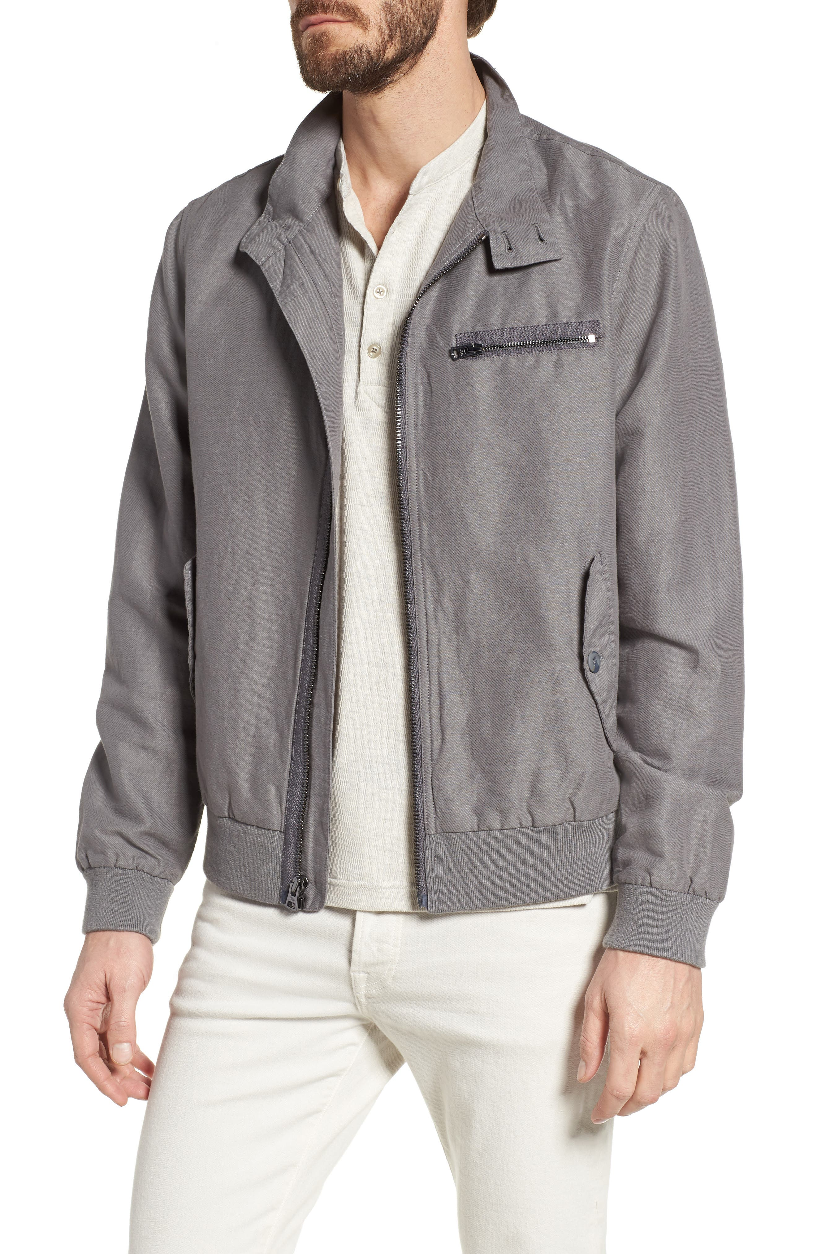 Harrington Linen & Cotton Jacket,                             Main thumbnail 1, color,                             SHADE