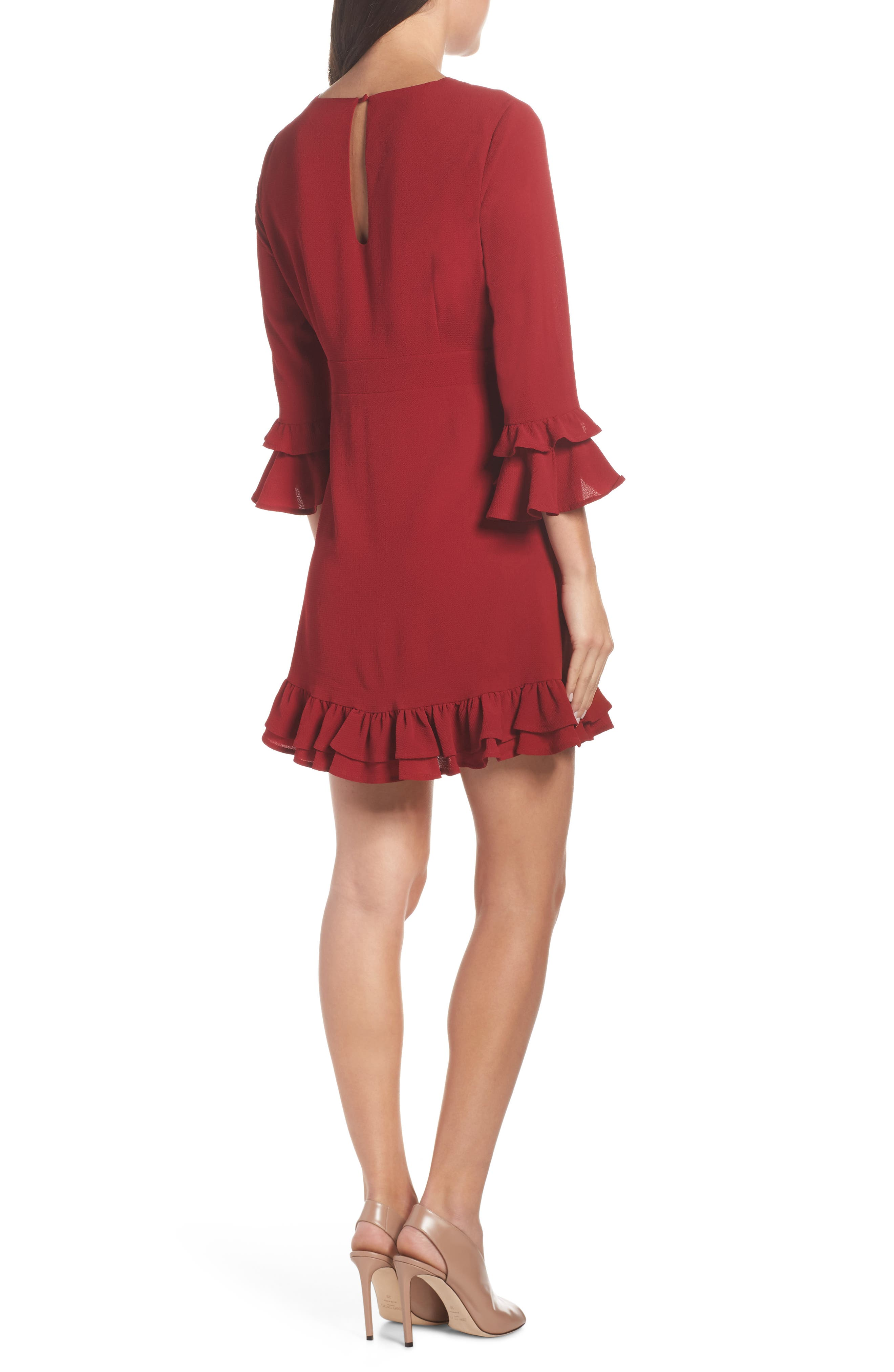 Tiered Ruffle Trim Crepe Dress,                             Alternate thumbnail 2, color,                             ROUGE
