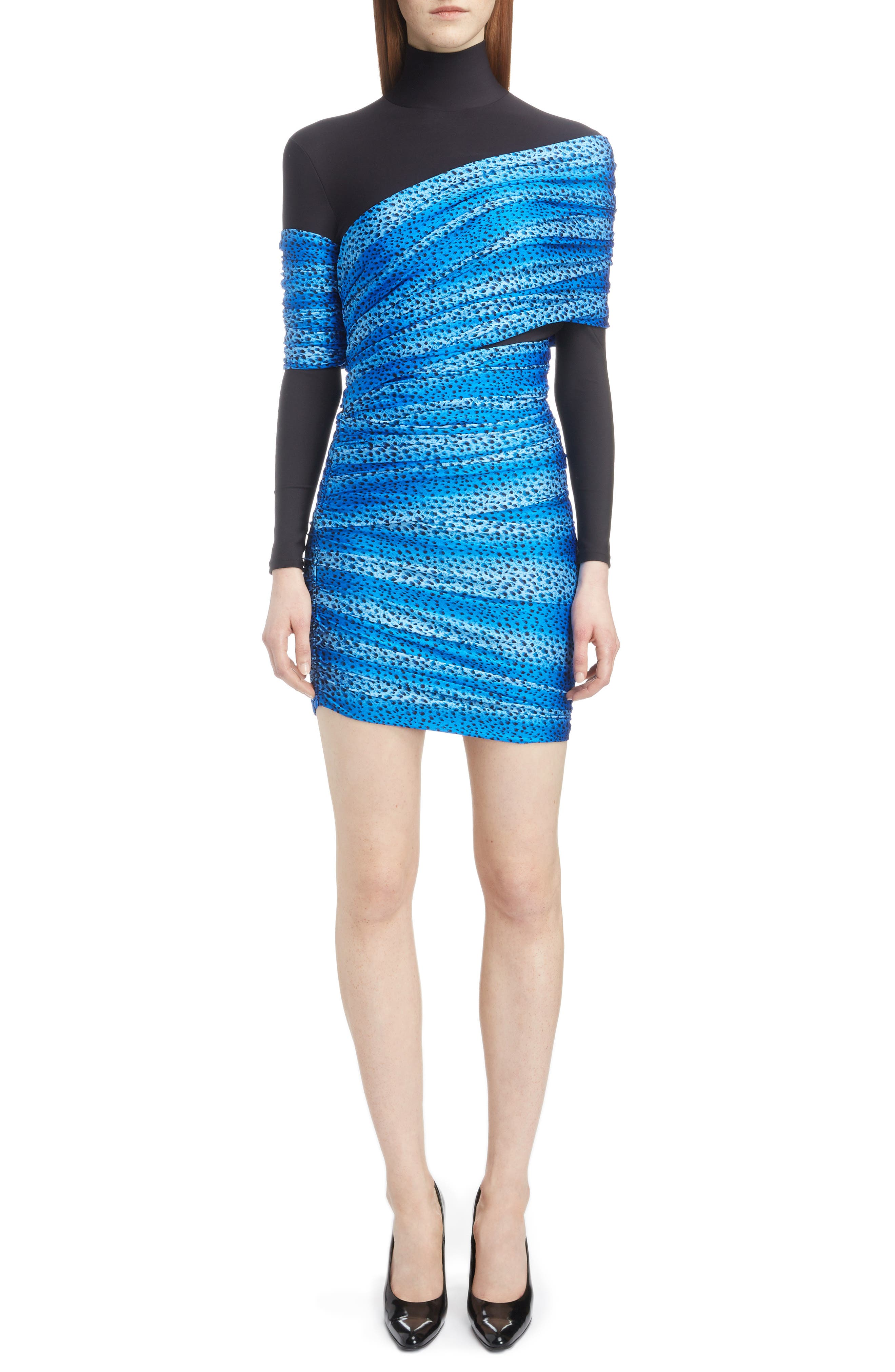 Cheetah Print Overlay Body-Con Dress,                         Main,                         color, 4011-BLUE