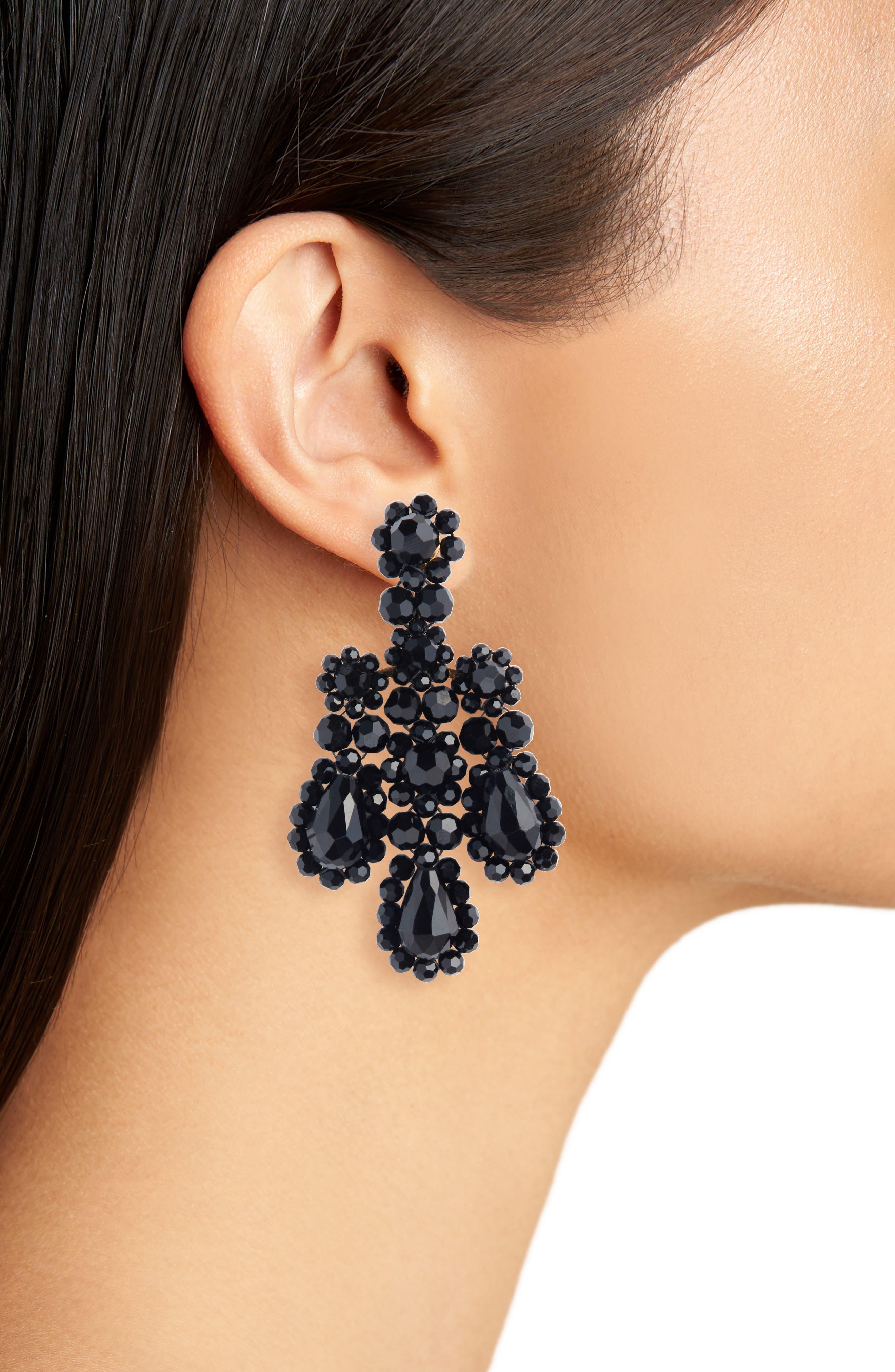 Beaded Chandelier Earrings,                             Alternate thumbnail 2, color,                             JET