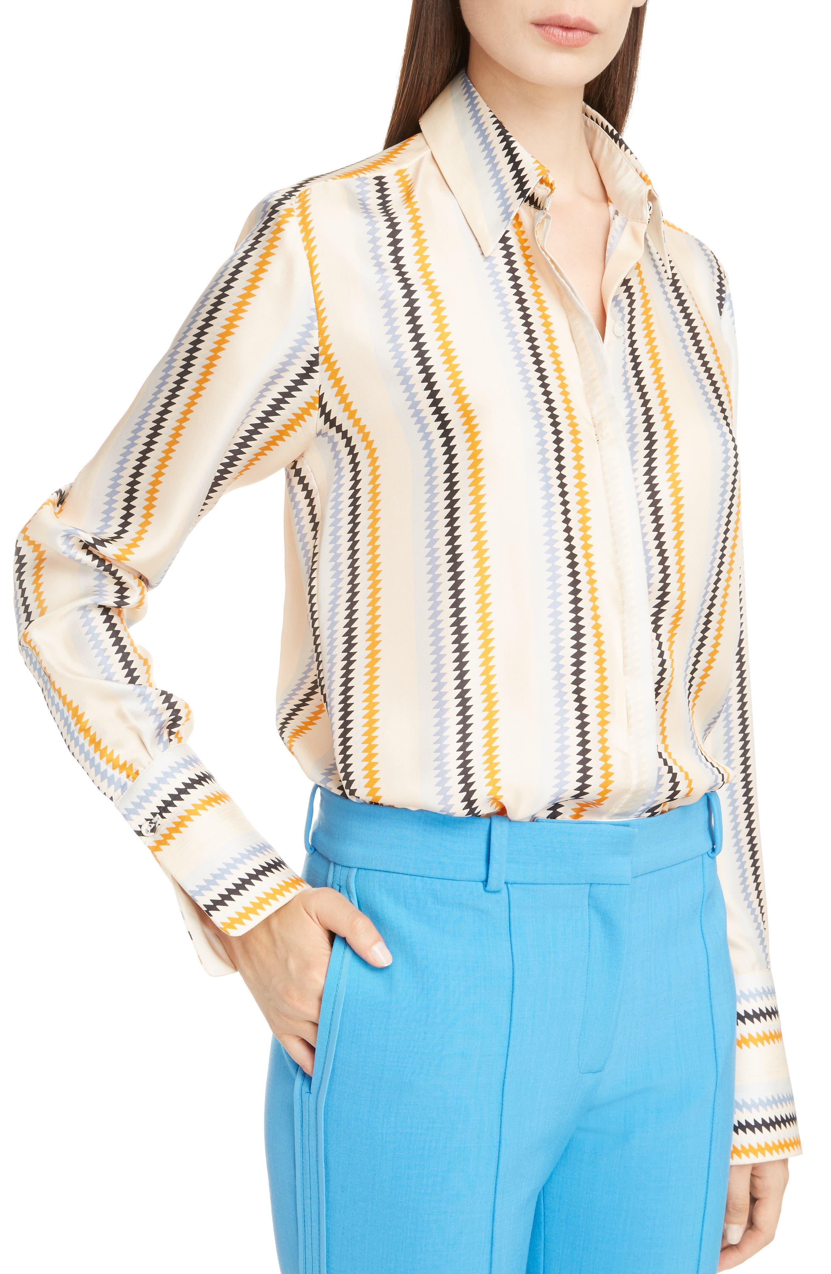 Fluid Stripe Silk Shirt,                             Alternate thumbnail 4, color,                             700